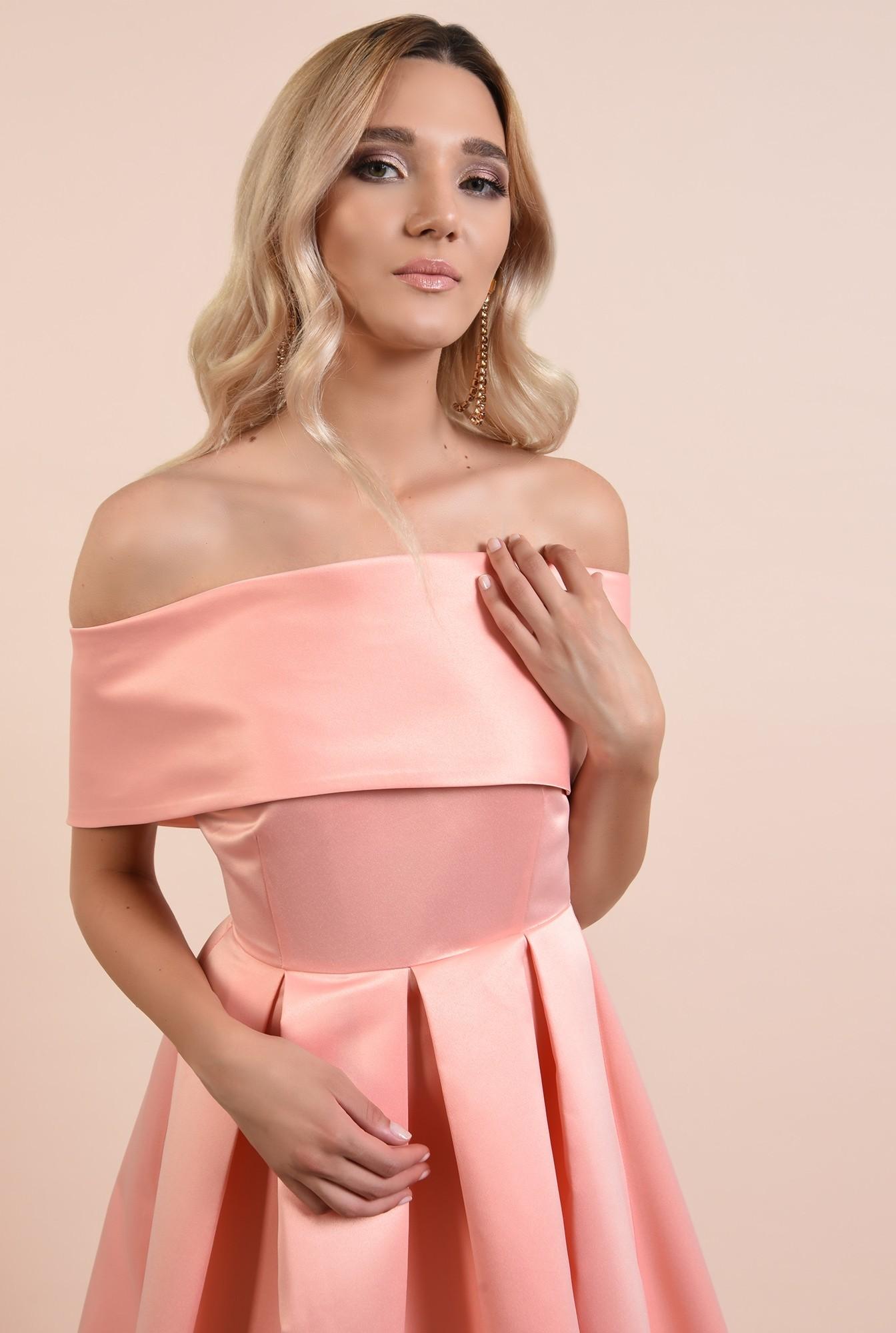 2 - 360 - rochie de ocazie, roz somon, midi, cu pliuri panou, Poema, umeri goi
