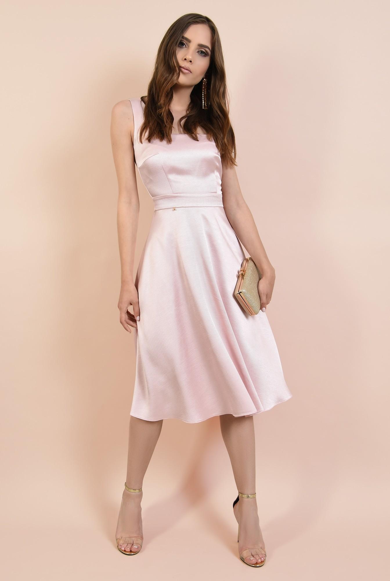 3 - rochie eleganta, cu bretele, croi evazat, inchidere cu fermoar ascuns