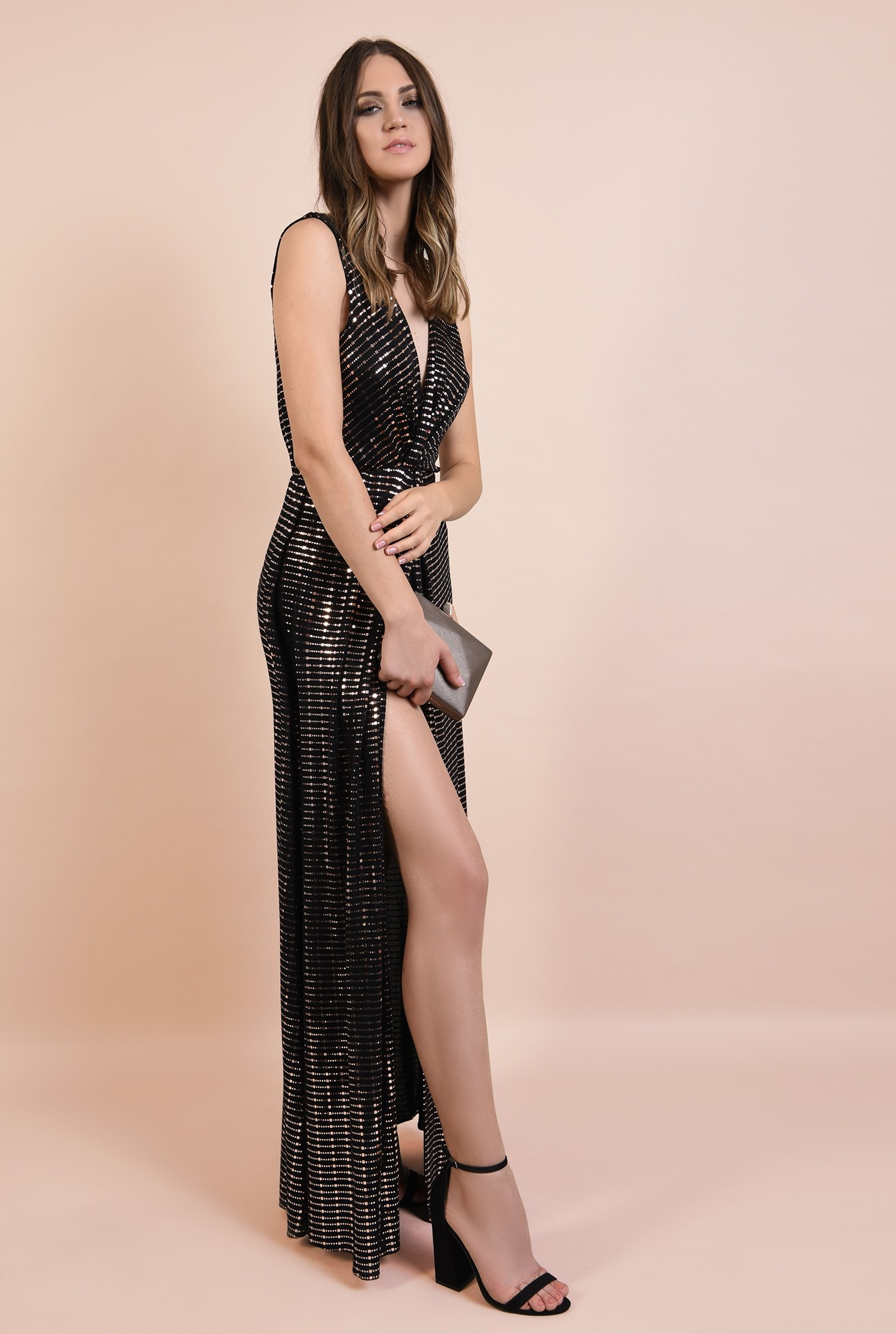 0 - 360 - rochie de seara, lunga, din lurex cu detalii aurii, anchior, croi petrecut, Poema