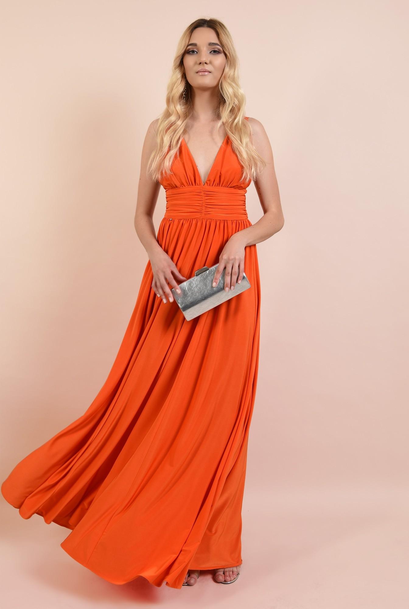 3 - rochie eleganta, cu decolteu adanc, spate dezgolit, bretele, clos, corai