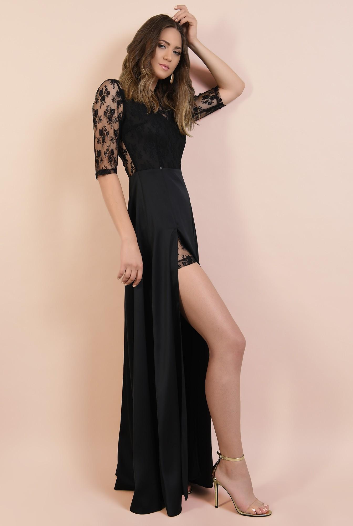 3 - rochie de seara, neagra, lunga, cu crapeu, din dantela, satin