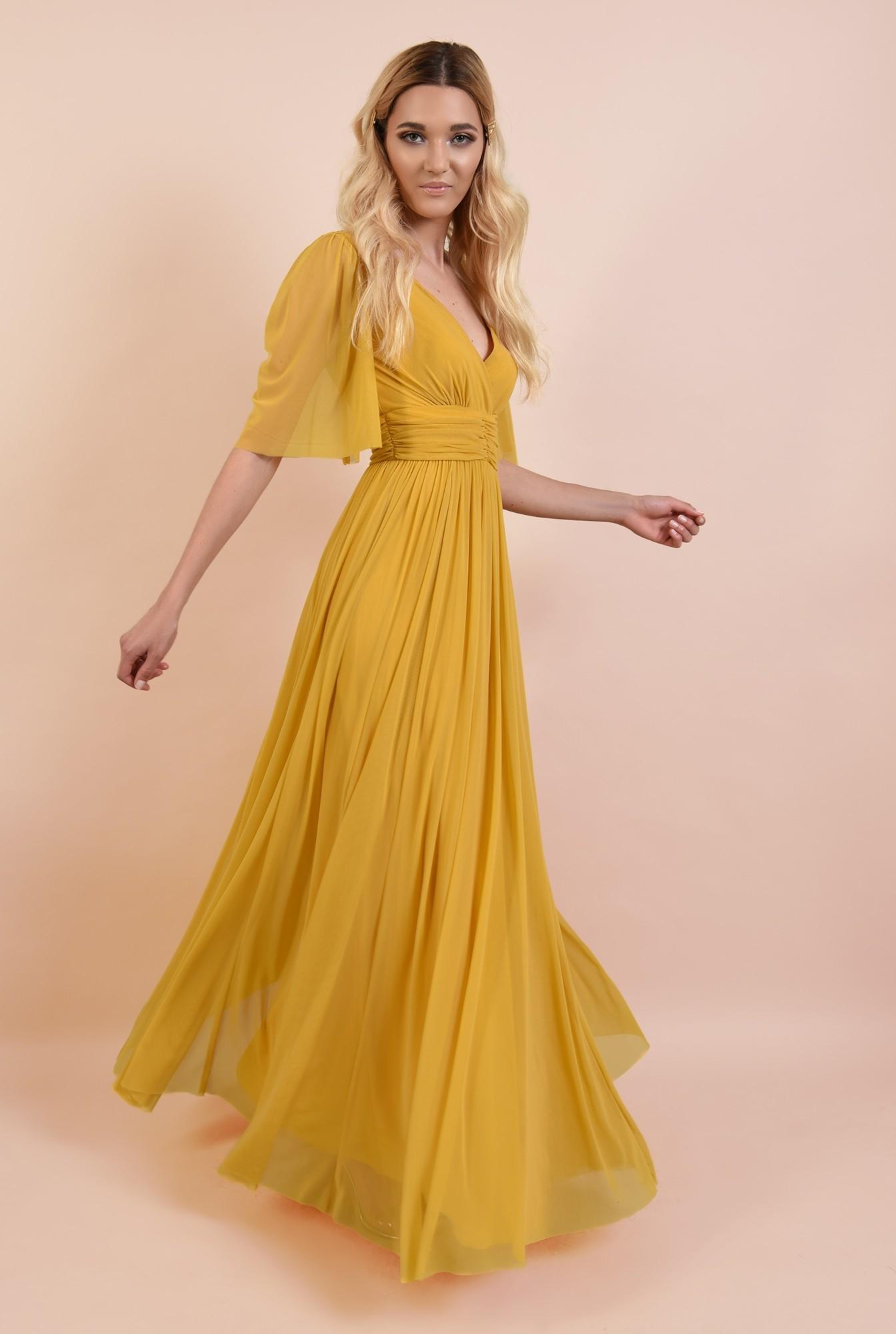 3 - 360 - rochie de seara, lunga, din tul, betelie cu pliuri, maneci 3/4 fluture