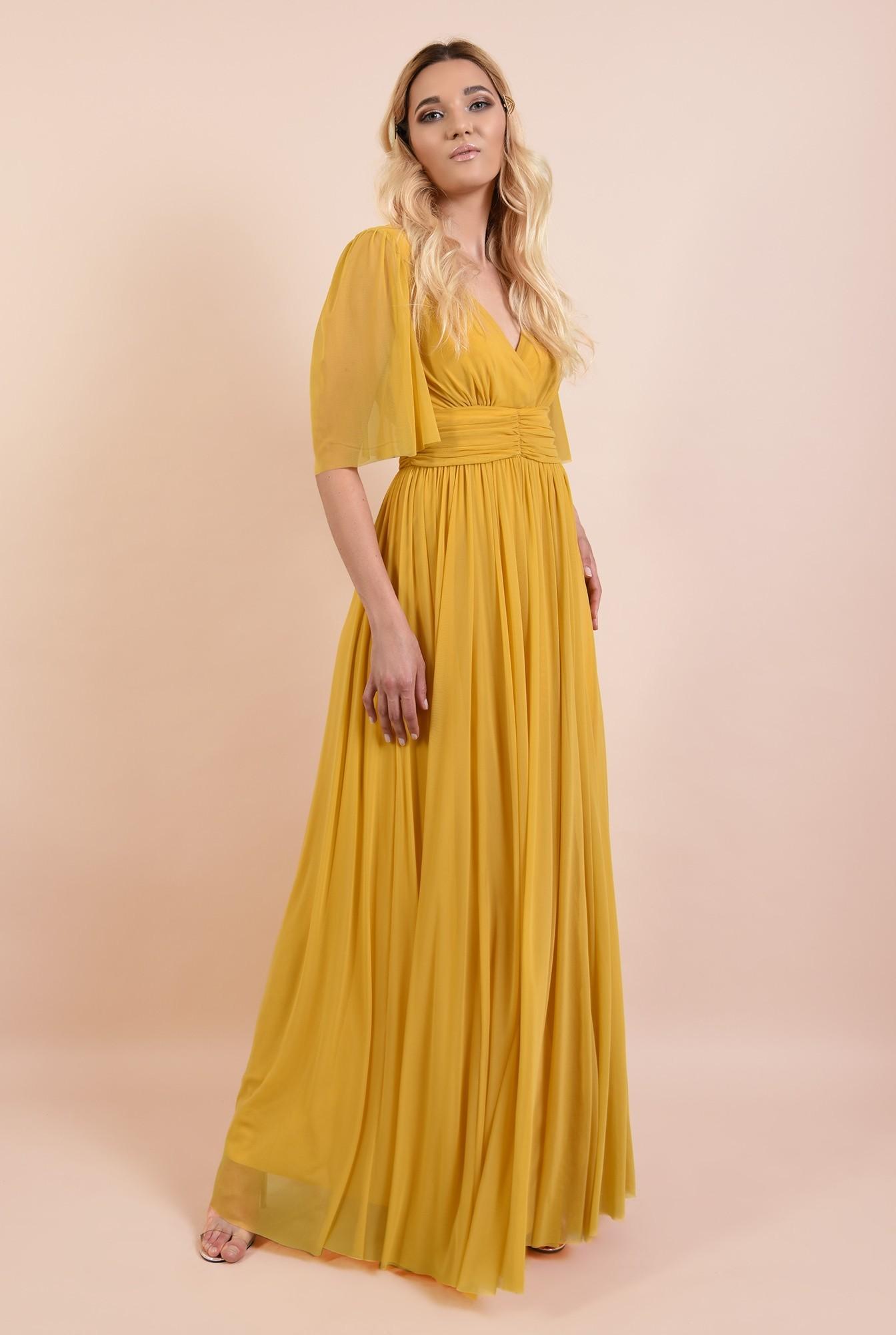 0 - 360 - rochie de seara, lunga, din tul, betelie cu pliuri, maneci 3/4 fluture