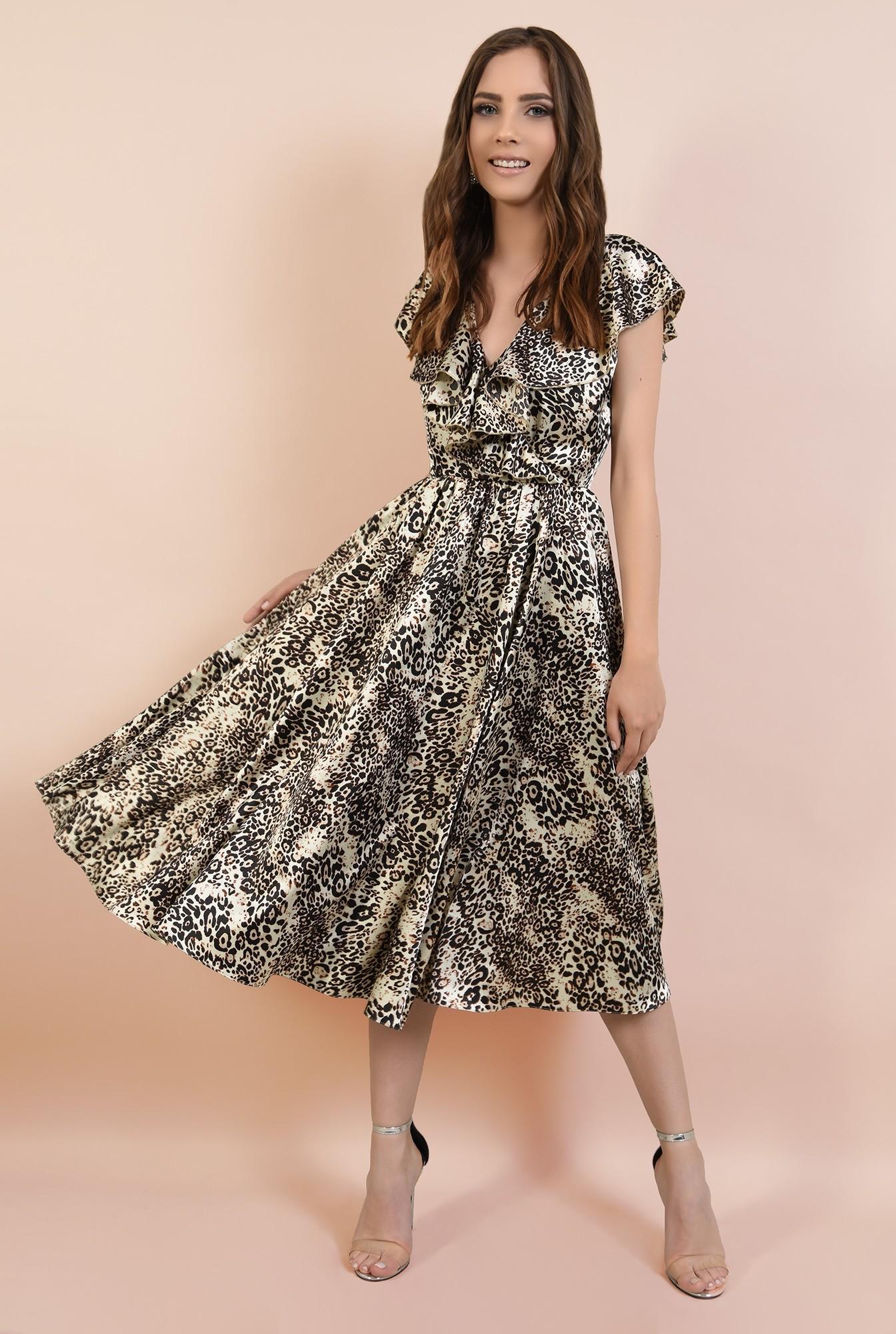 3 - rochie eleganta, din satin imprimat, cu volane, croi clos