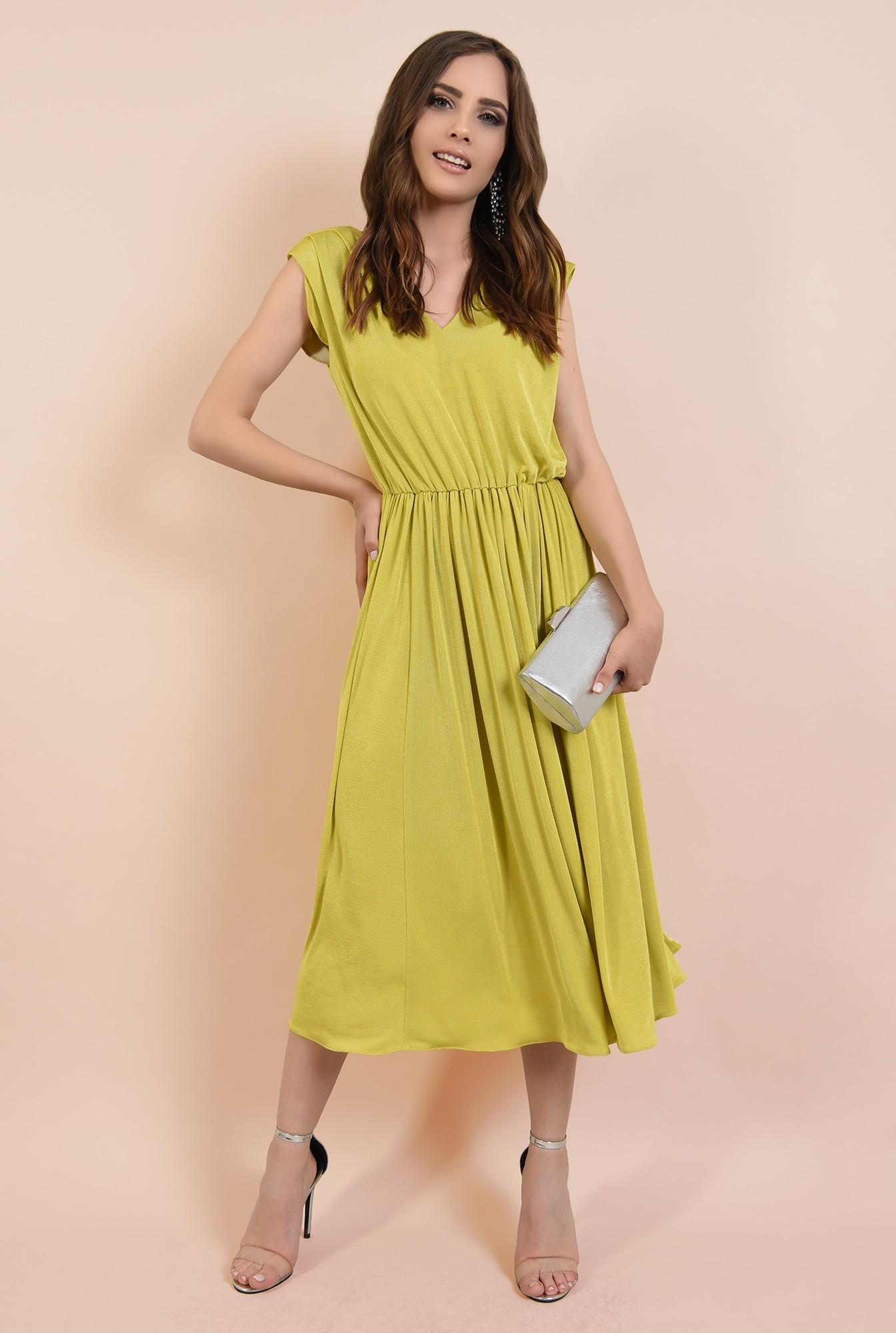 3 - rochie de ocazie, clos, fara maneci, lycra, verde lime, Poema
