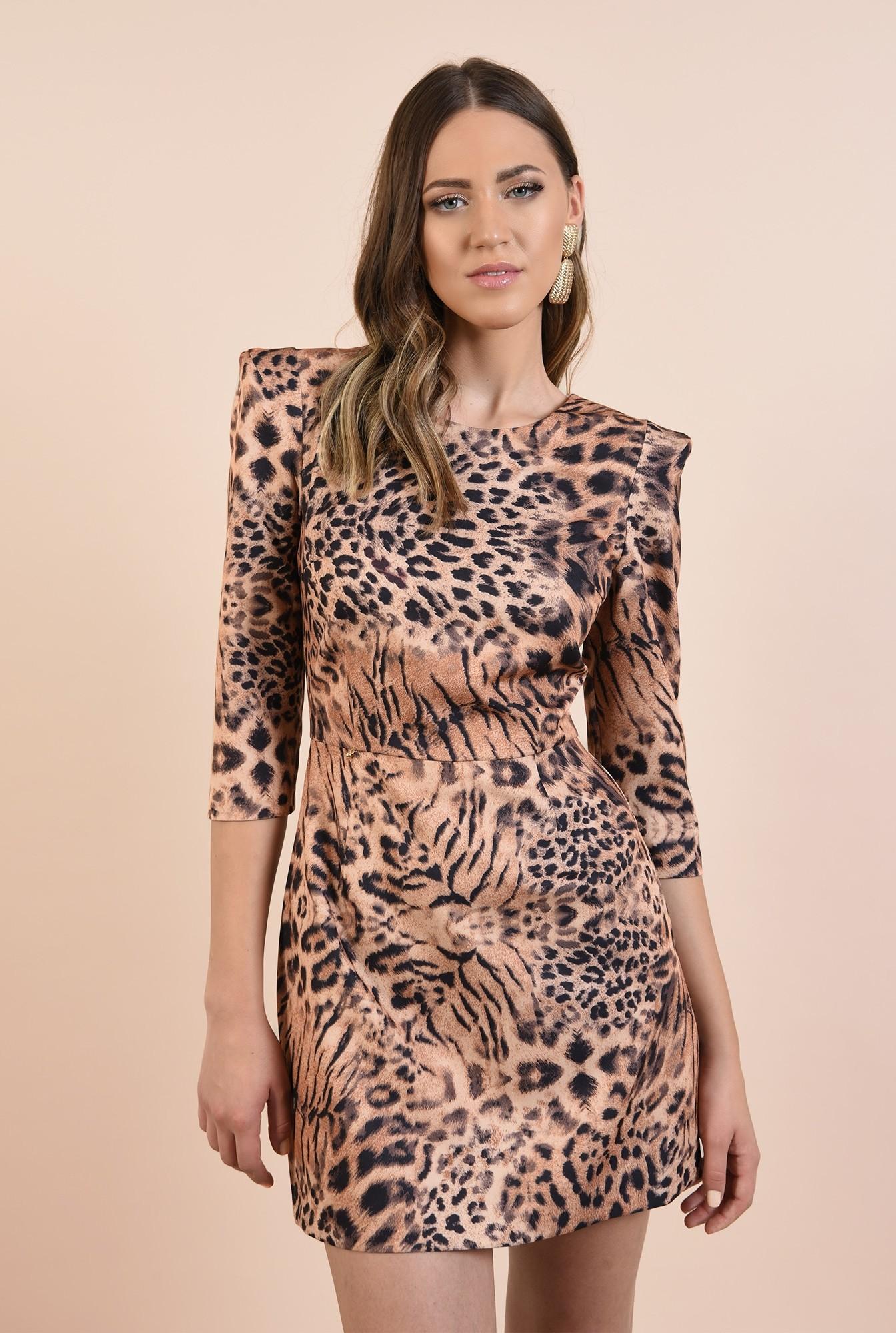 2 - rochie animal print, scurta, cambrata, umeri ascutiti, Poema