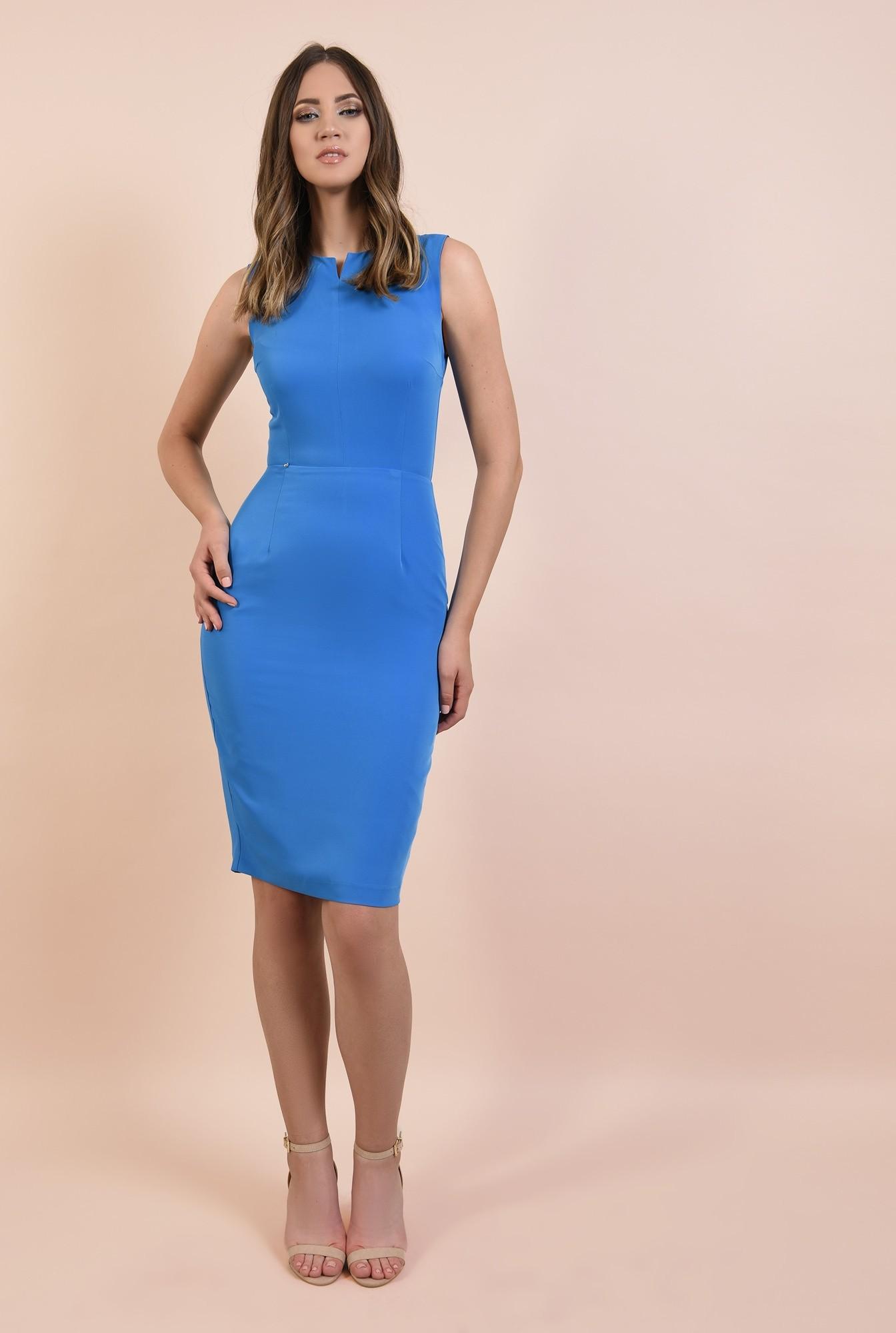 3 - rochie office, albastra, creion, cambrata, decolteu cu fenta, cusatura in talie