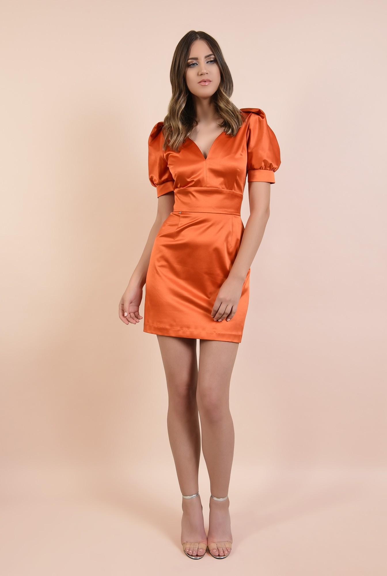3 - rochie de seara, orange, tafta de bumbac, maneci fantezie, lungime mini