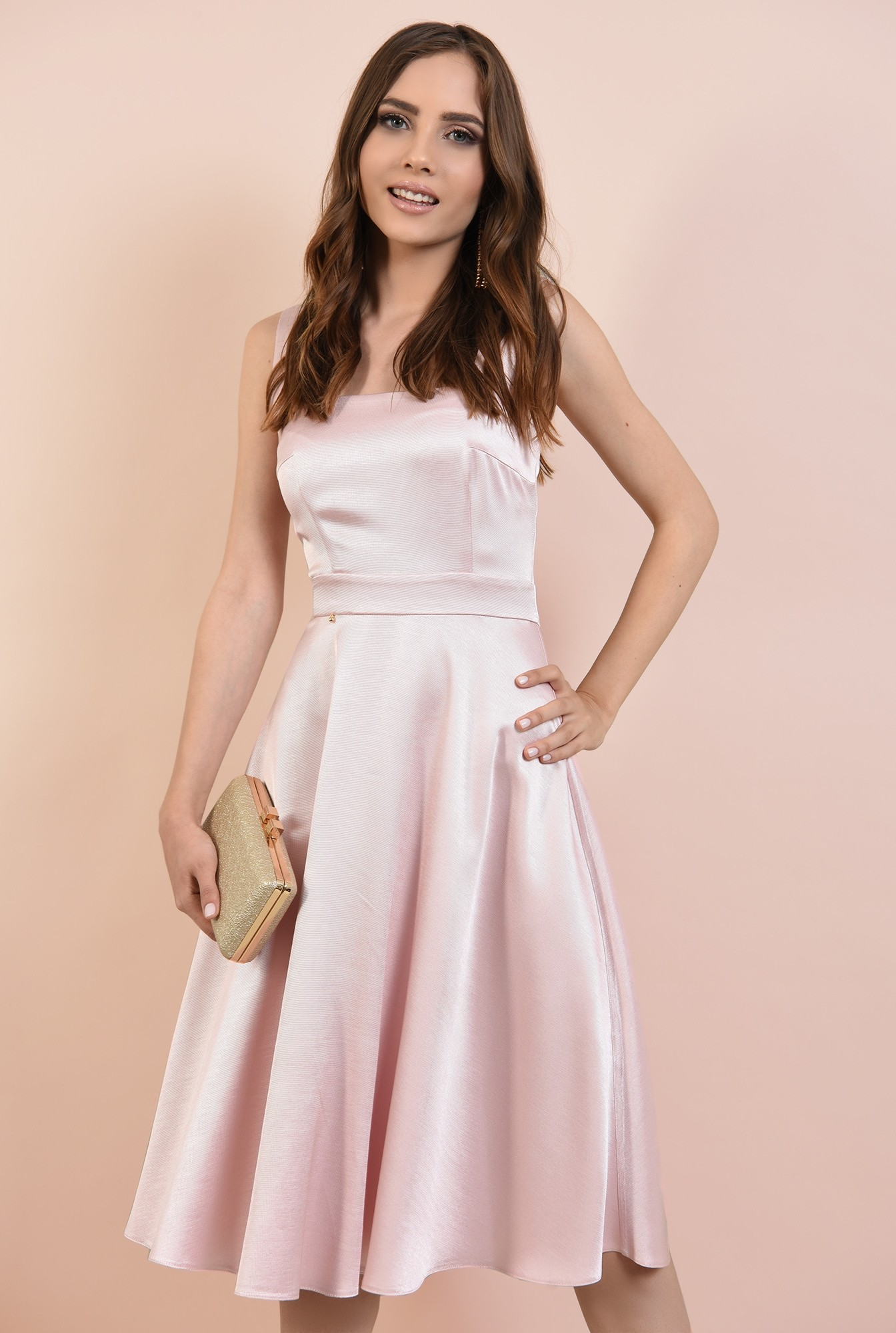 2 - rochie eleganta, cu bretele, croi evazat, inchidere cu fermoar ascuns