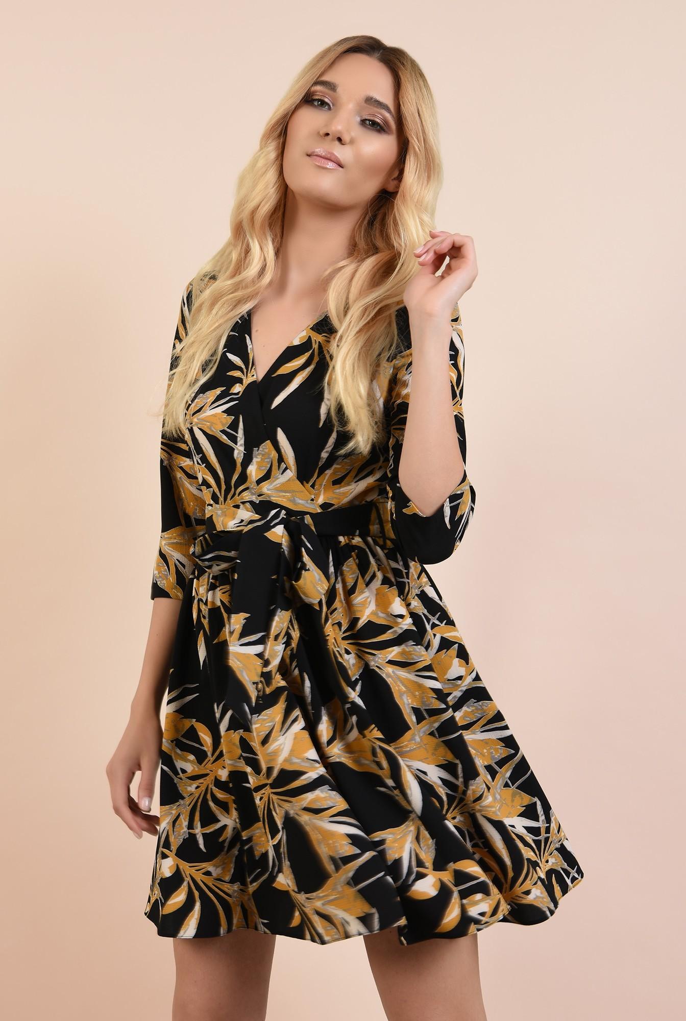 0 - 360 - rochie casual, scurta, cu print floral, anchior petrecut, Poema