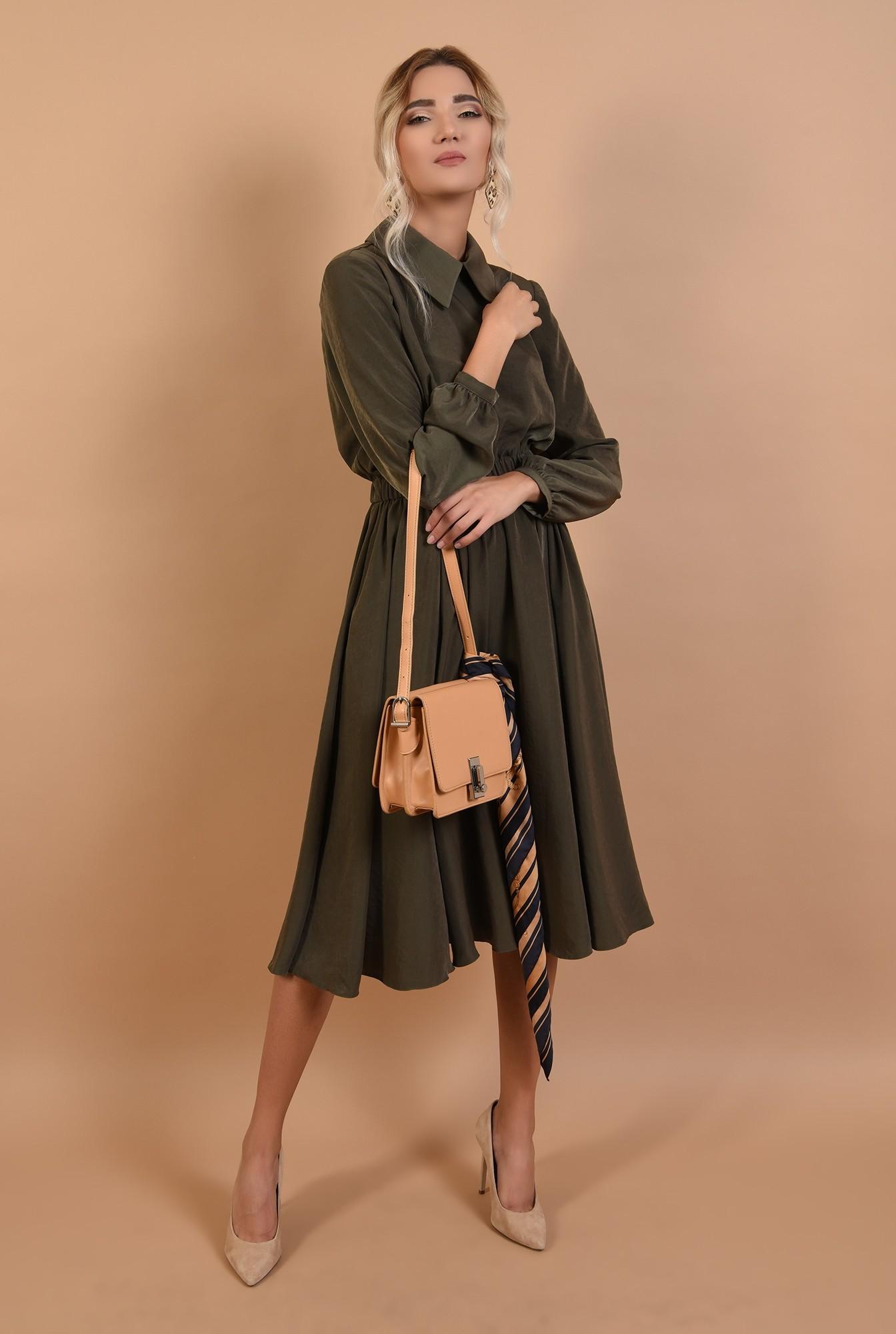 3 - 360 - rochie casual, midi, evazata, talie variabila, guler ascutit