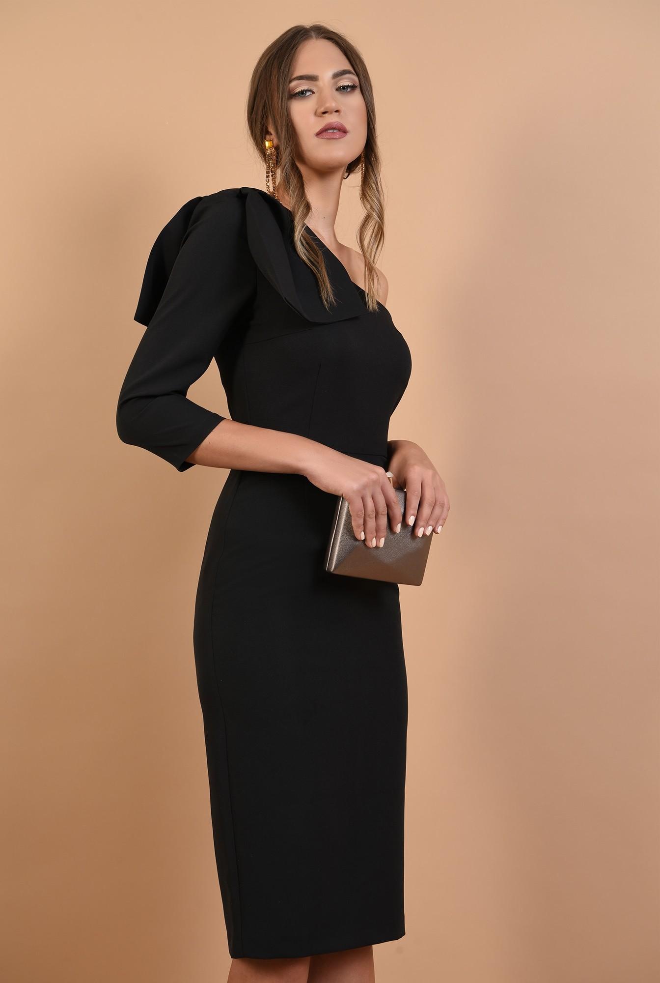 0 - rochie eleganta, cu funda, umar gol, midi