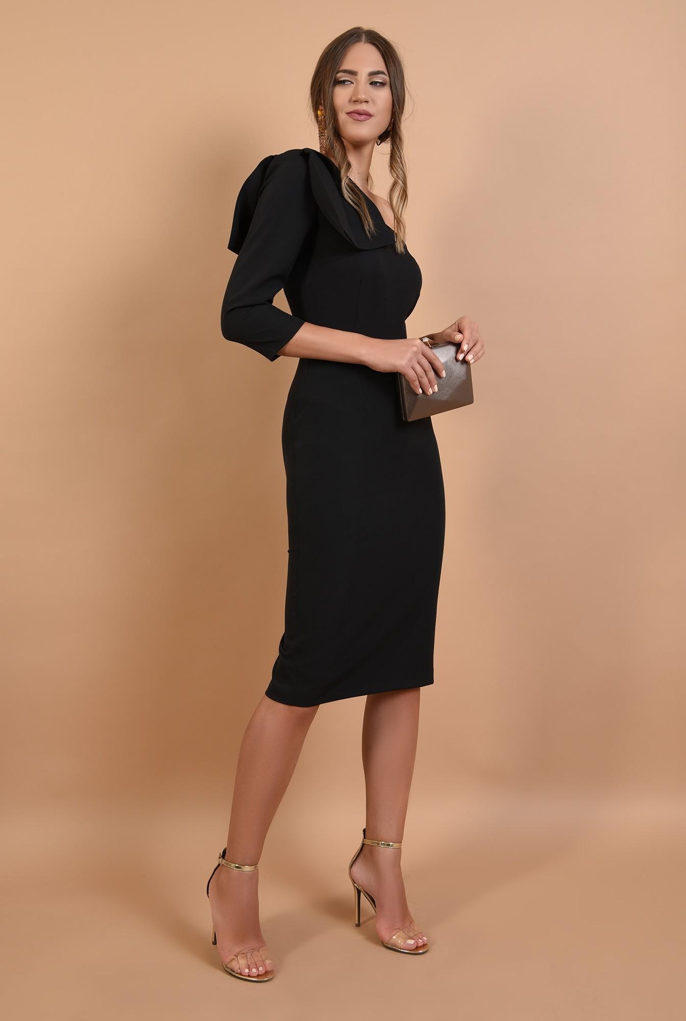 3 - rochie eleganta, cu funda, umar gol, midi