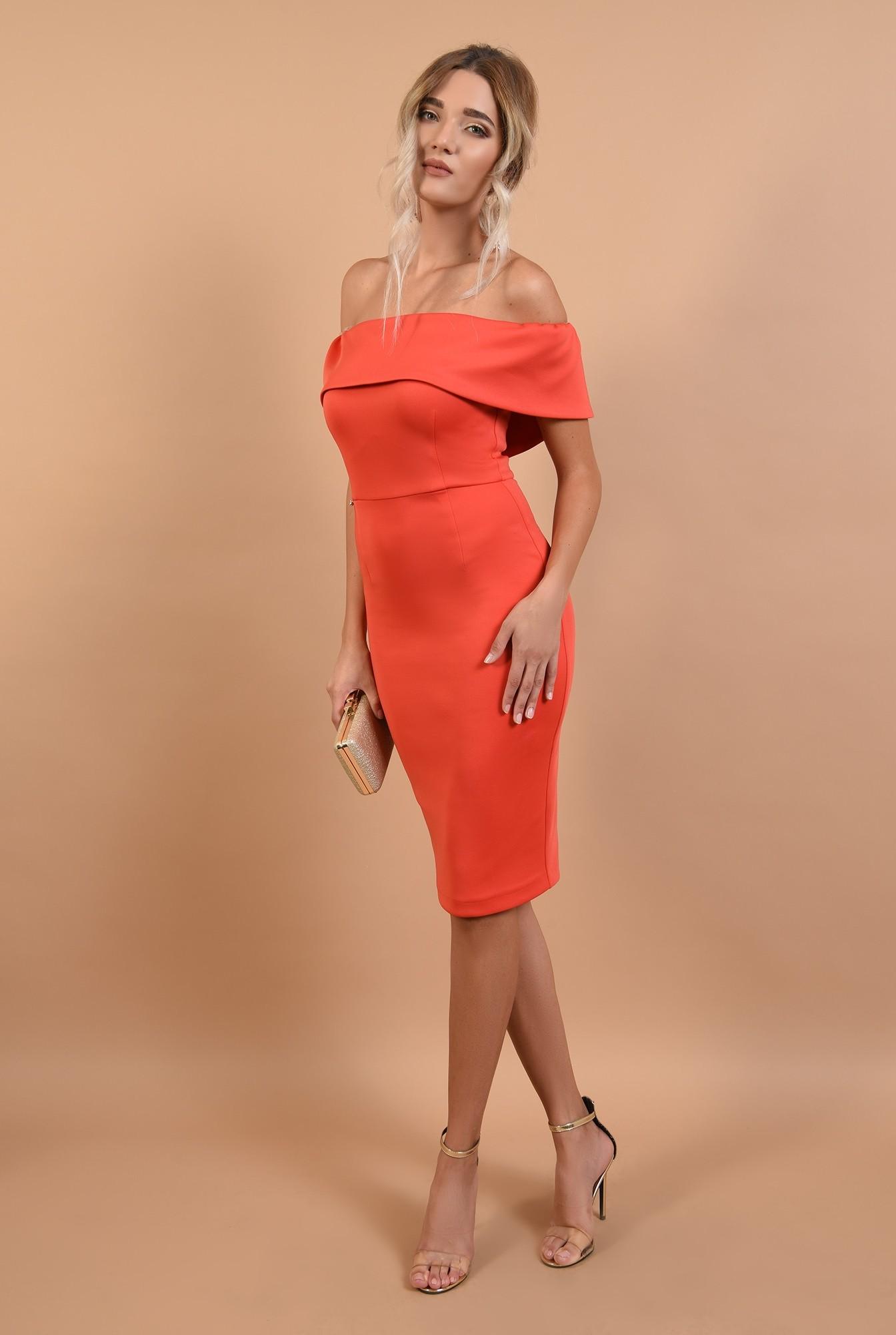 3 - rochii elegante online, midi, conica, cu crapeu, umeri goi, Poema