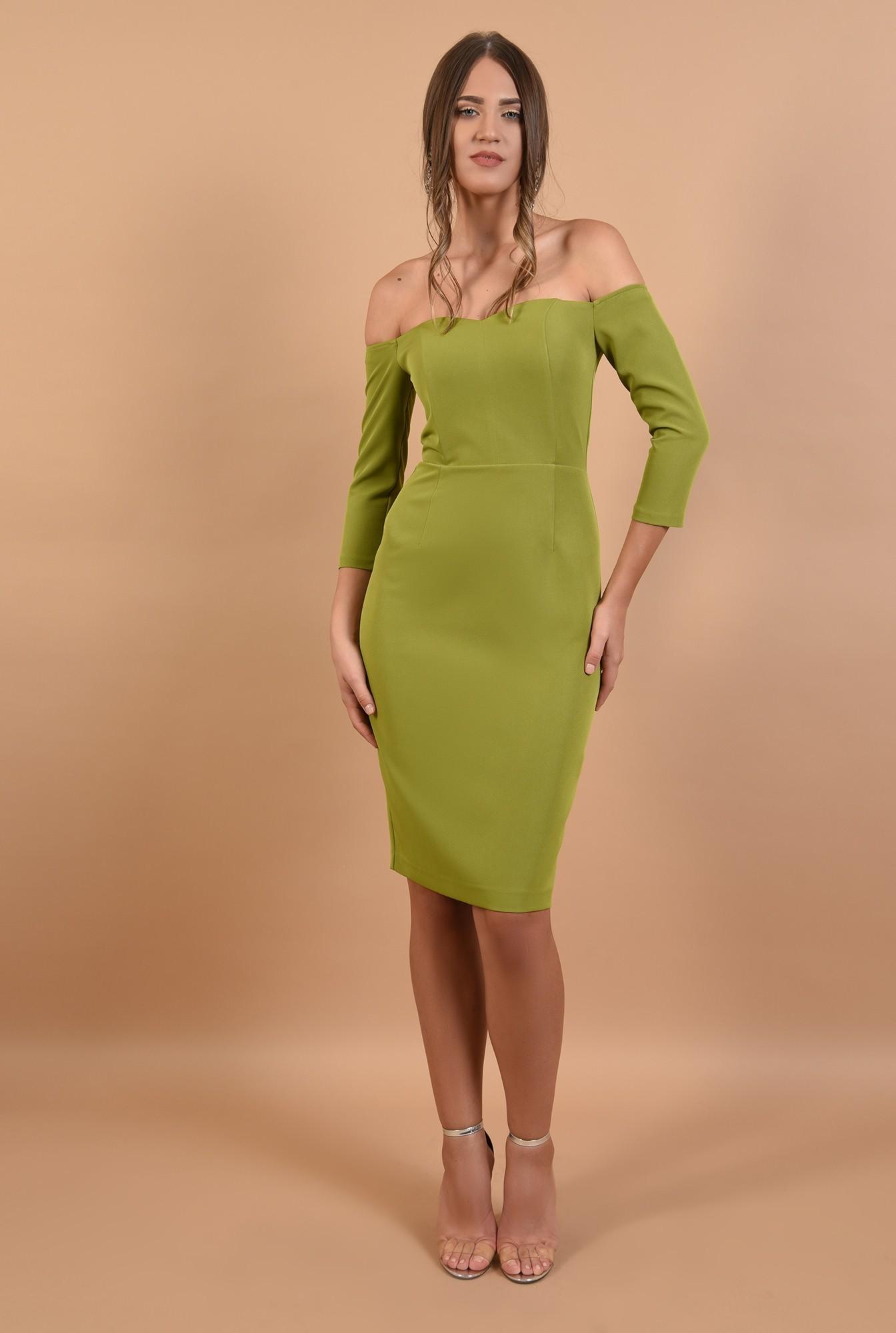 3 - rochie Poema, eleganta, cambrata, cu maneci ajustate, verde lime