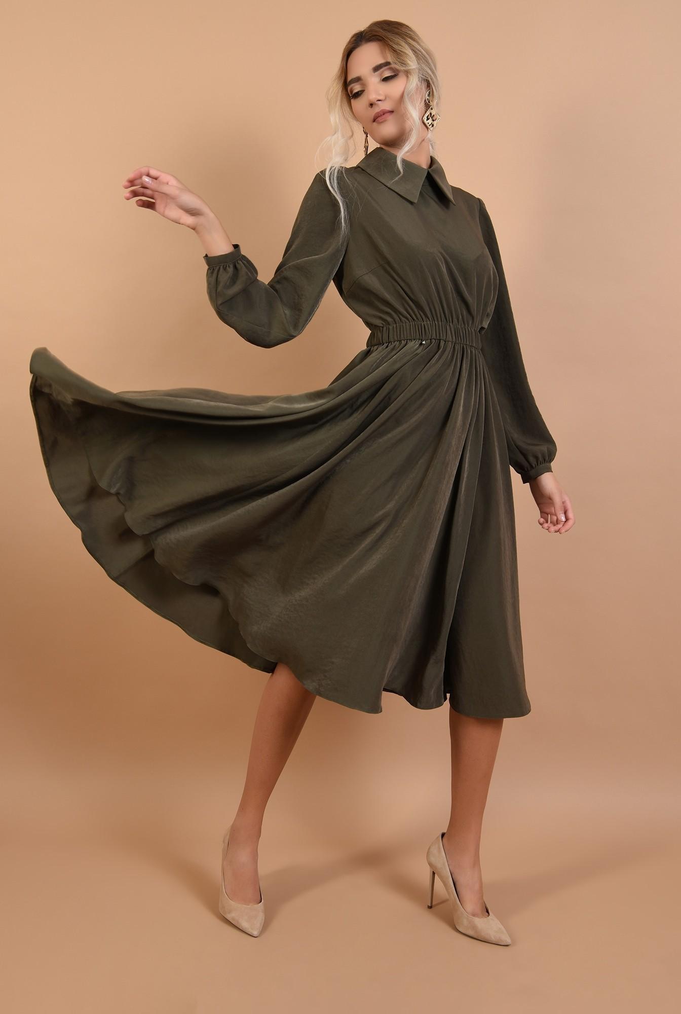 0 - 360 - rochie casual, midi, evazata, talie variabila, guler ascutit