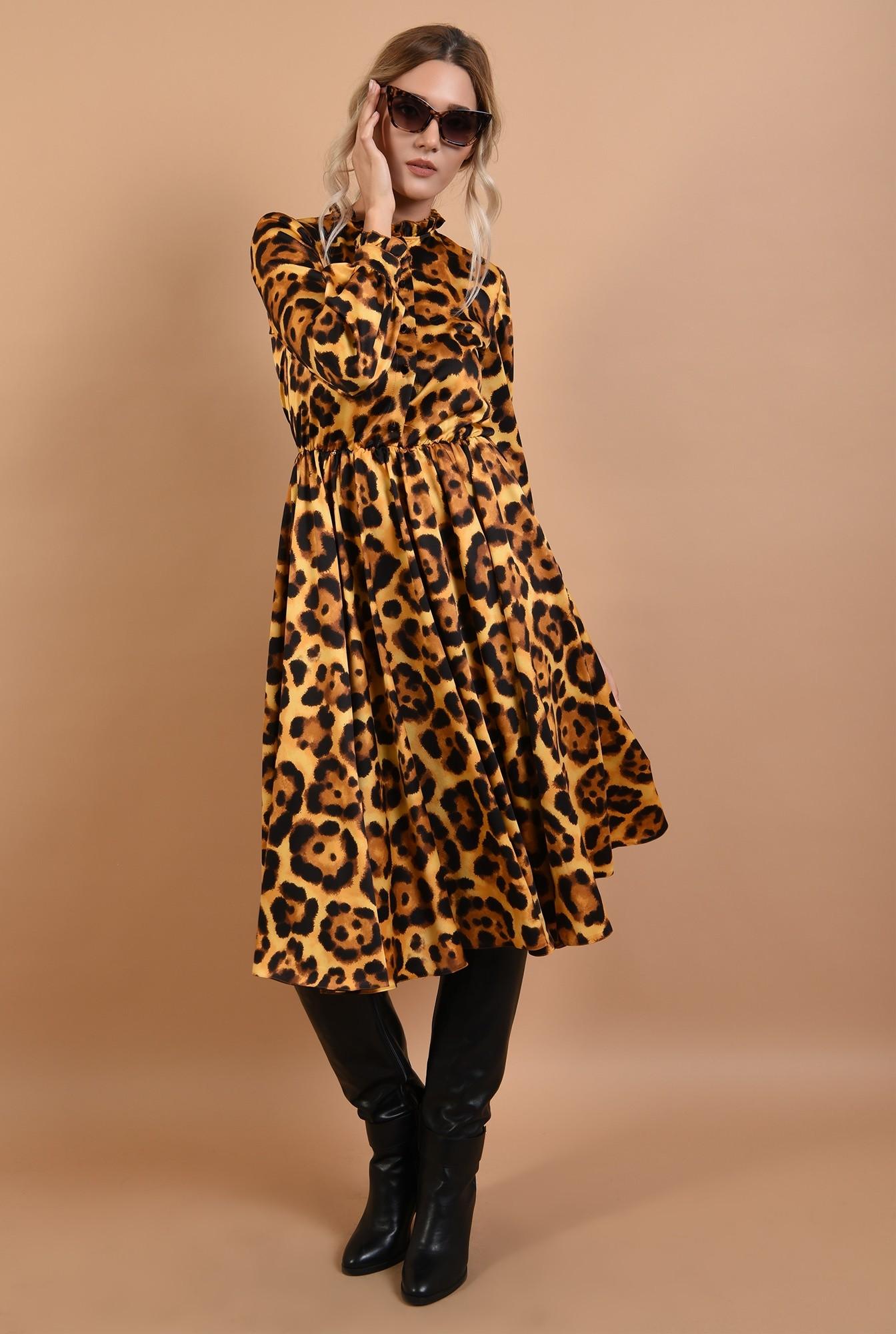 3 - rochie eleganta, din satin animal print, cu nasturi, cu guler, Poema