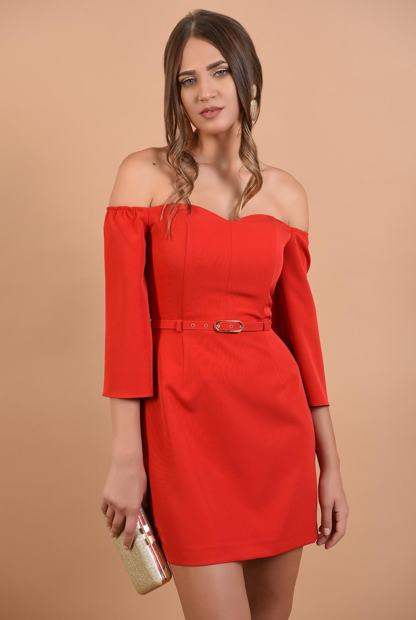 0 - rochie eleganta, mini, rosie, umeri dezgoliti, decolteu inima, Poema