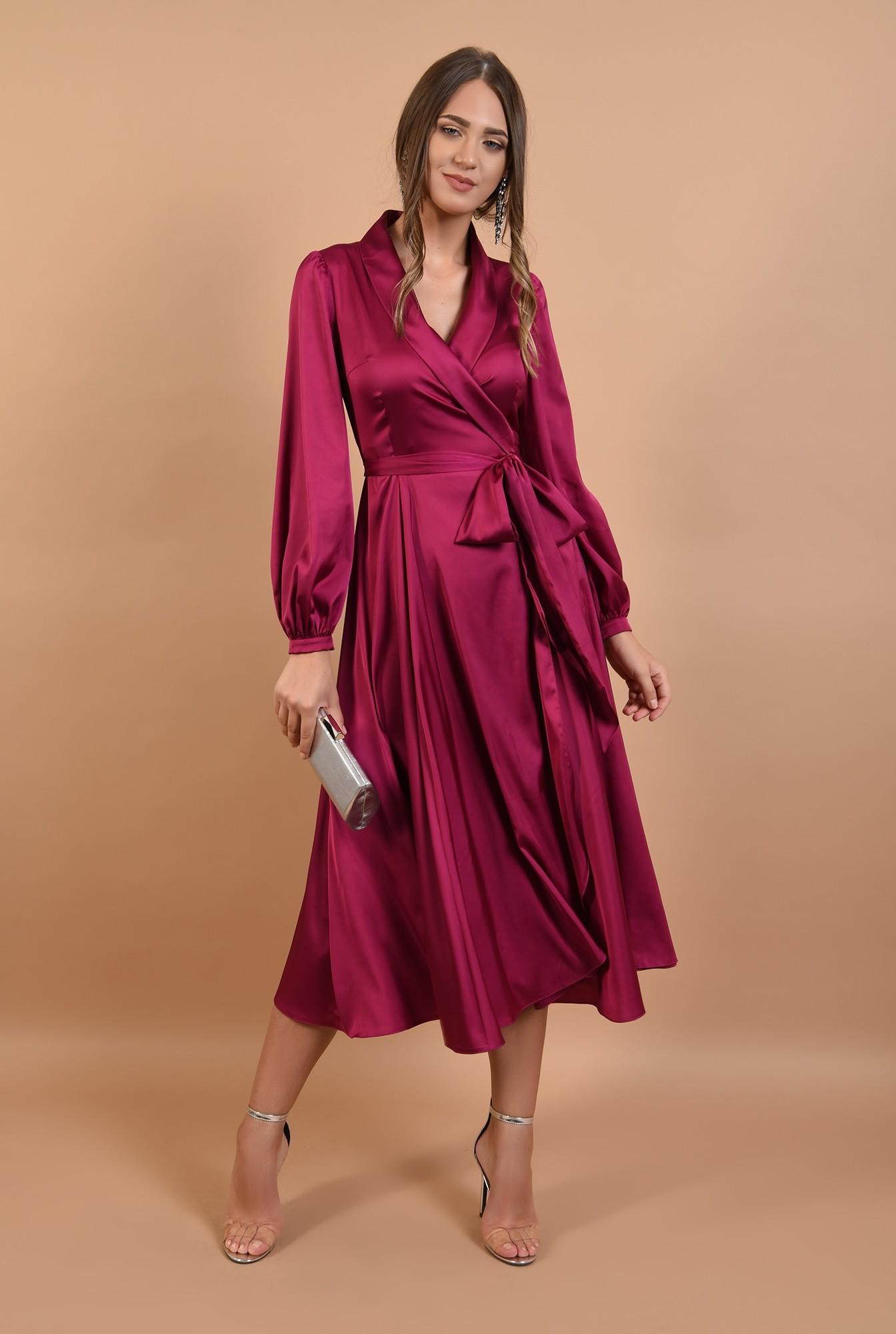 3 - rochie Poema, midi, de seara, din satin, anchior cu revere, cordon