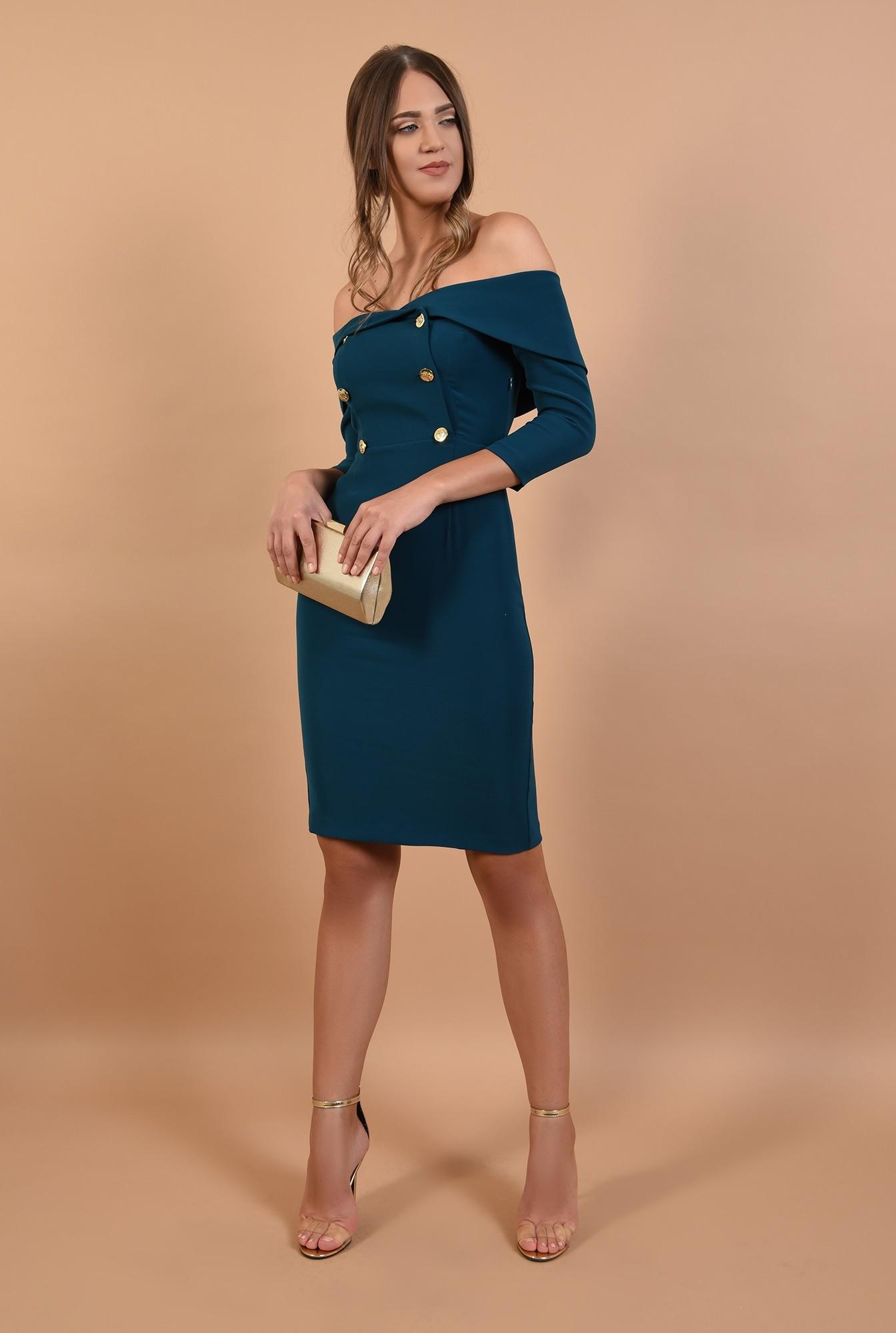 3 - 360 - rochie de ocazie, cambrata, midi, la doua randuri de nasturi