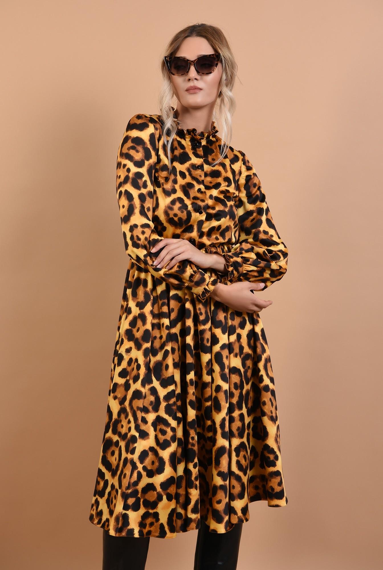 0 - rochie eleganta, din satin animal print, cu nasturi, cu guler, Poema