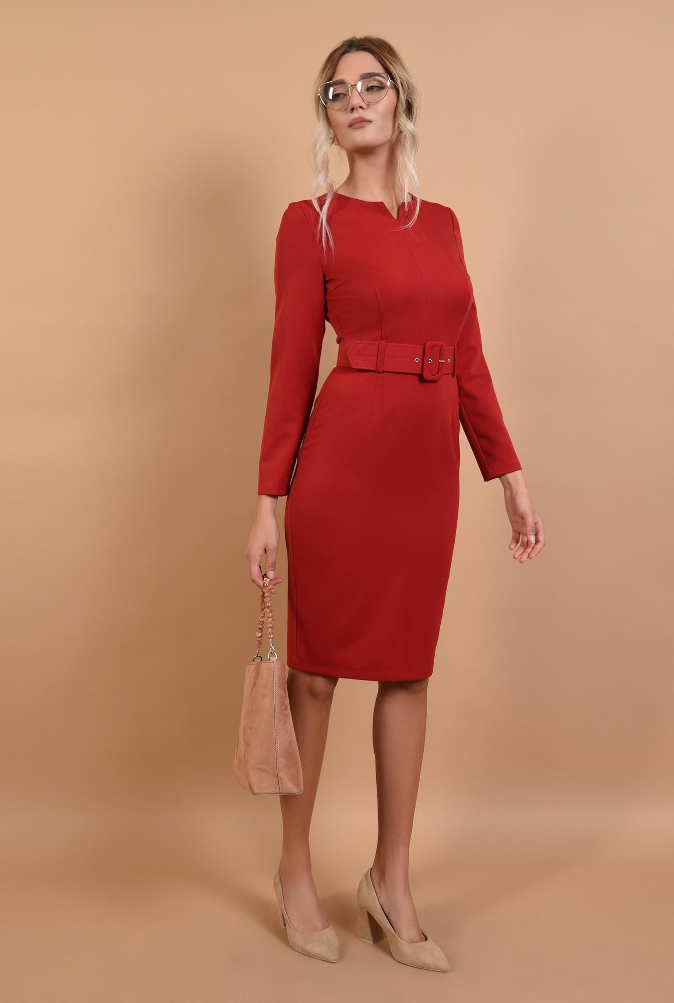 3 - rochie office, rosie, conica, cu centura, Poema