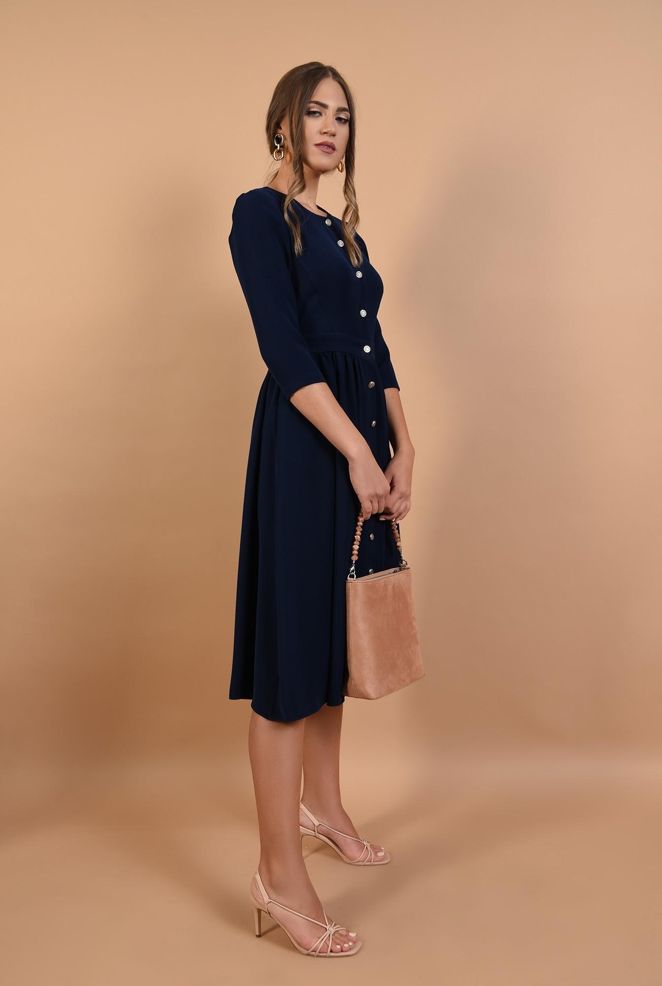 3 - rochie office, bleumarin, croi evazat, midi, nasturi aurii, Poema