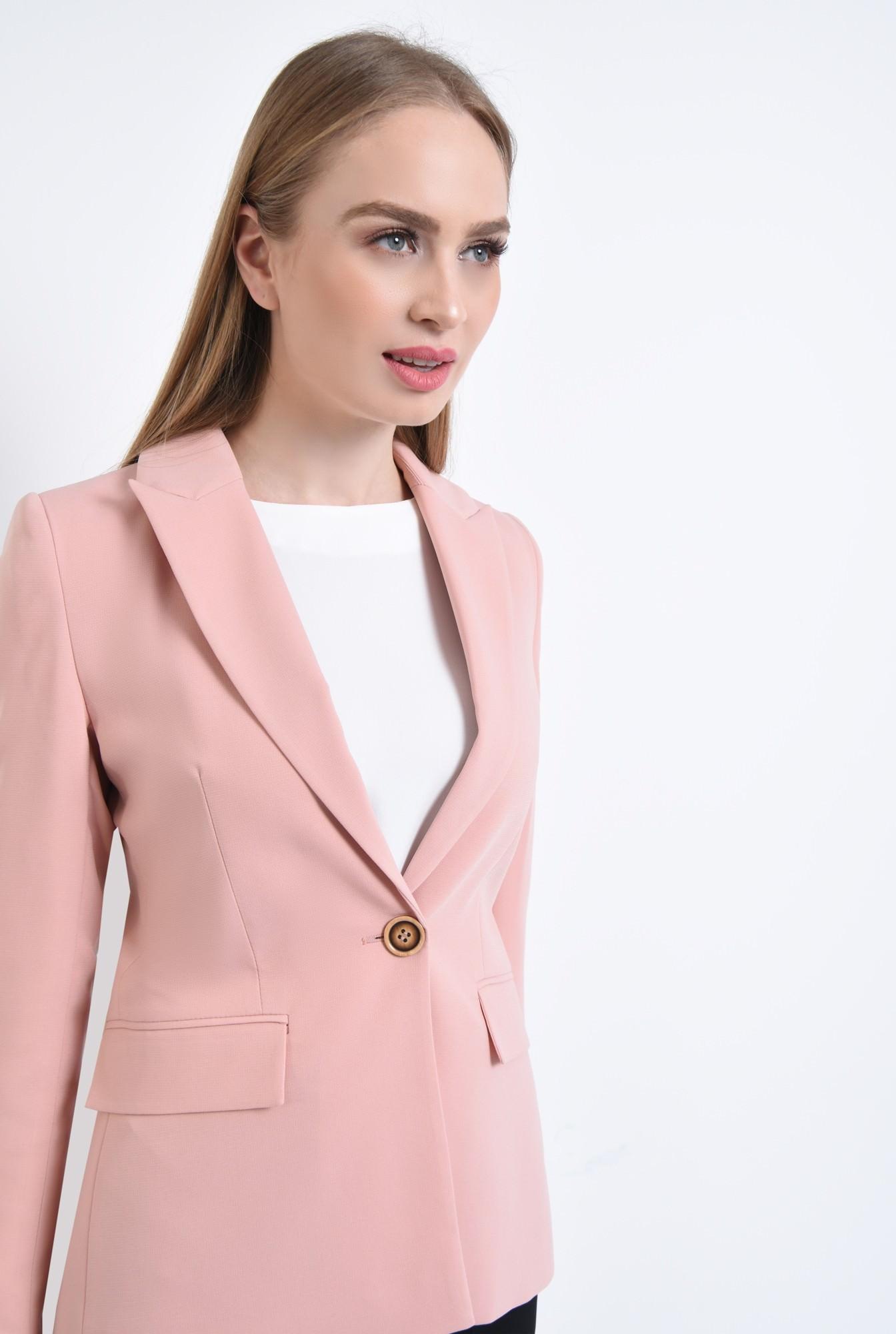 2 - Sacou casual, roz, tesatura texturata