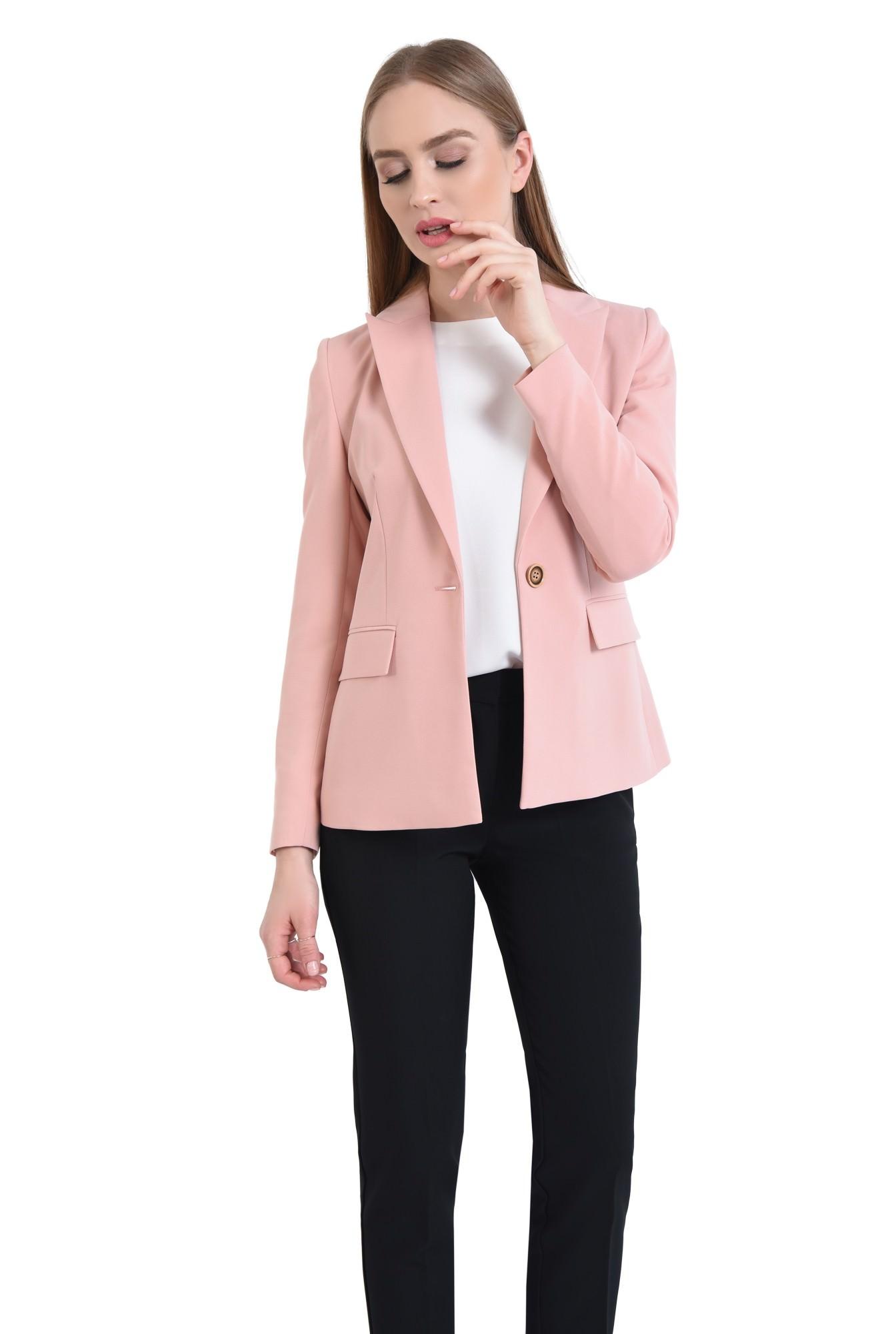 0 - Sacou casual, roz, tesatura texturata