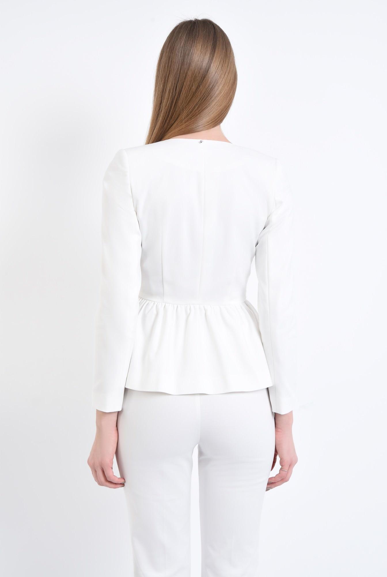 1 - 360 - Sacou casual alb, inchidere cu nasture decorativ