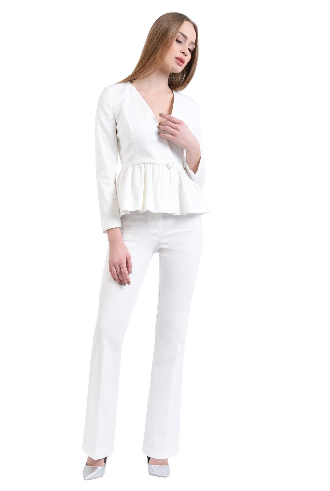 3 - 360 - Sacou casual alb, inchidere cu nasture decorativ