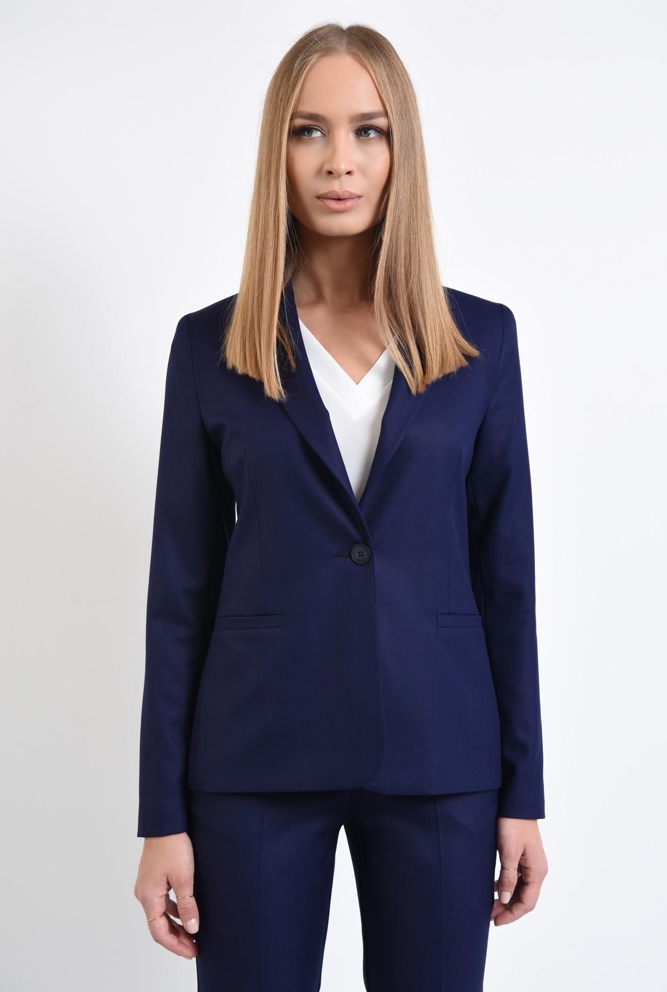 2 - 360 - sacou office, albastru, bleumarin, cu revere, cu nasture