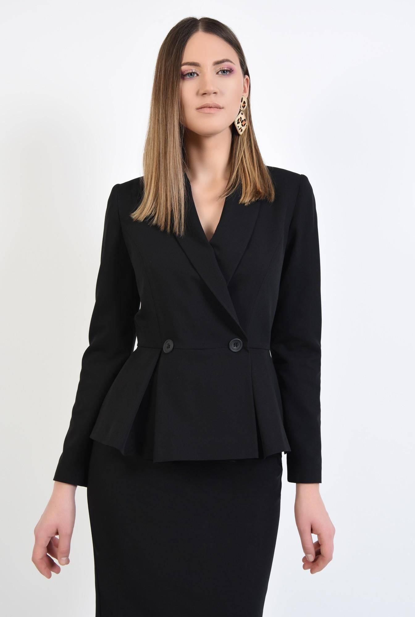 0 - 360 - blazer elegant, cu volan si pliuri, cu nasturi, revere rotunjite