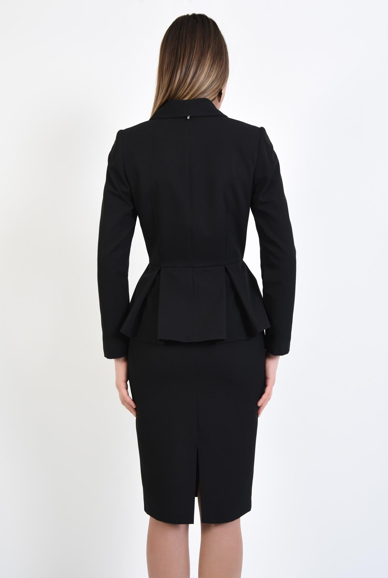 1 - 360 - blazer elegant, cu volan si pliuri, cu nasturi, revere rotunjite