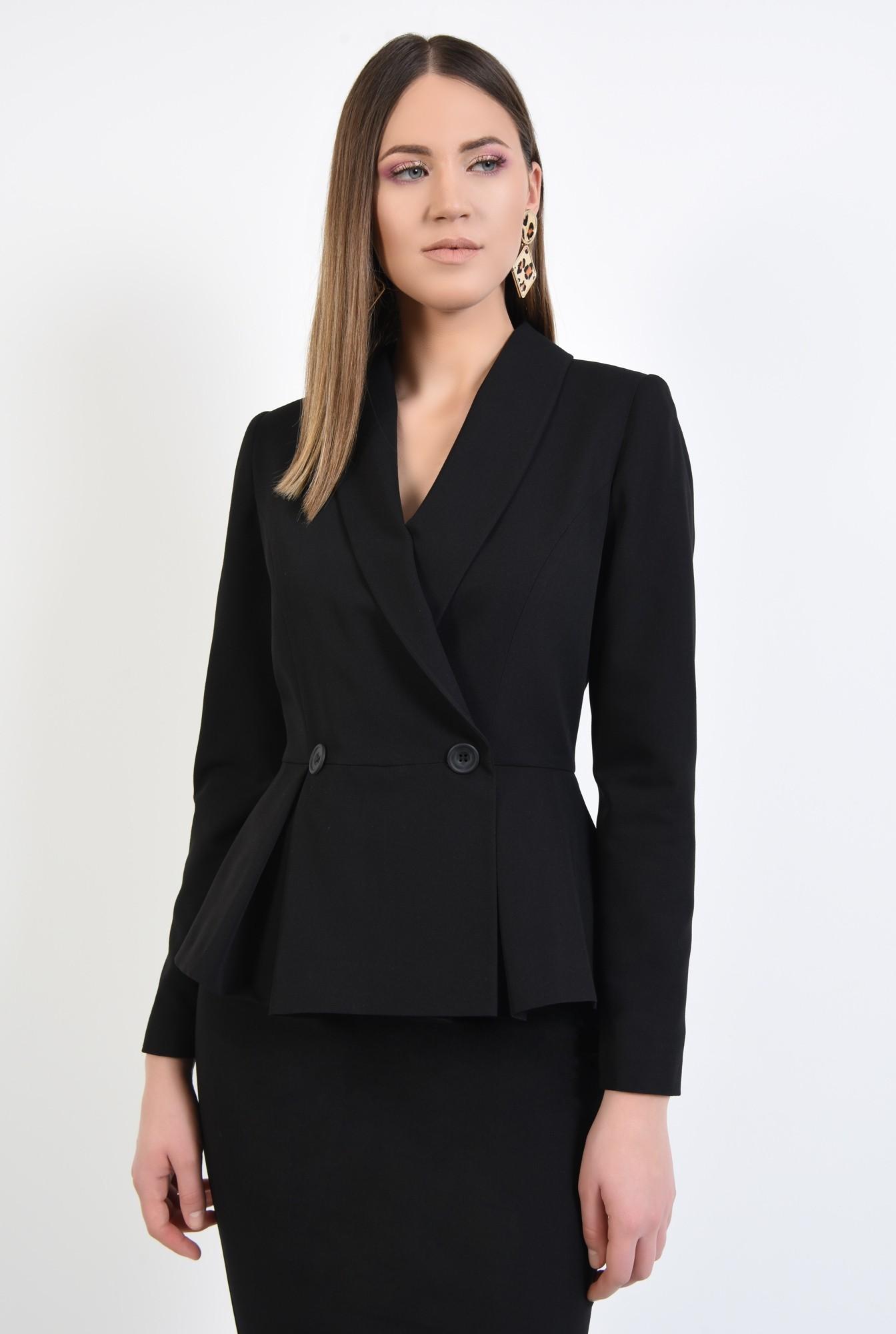 2 - 360 - blazer elegant, cu volan si pliuri, cu nasturi, revere rotunjite