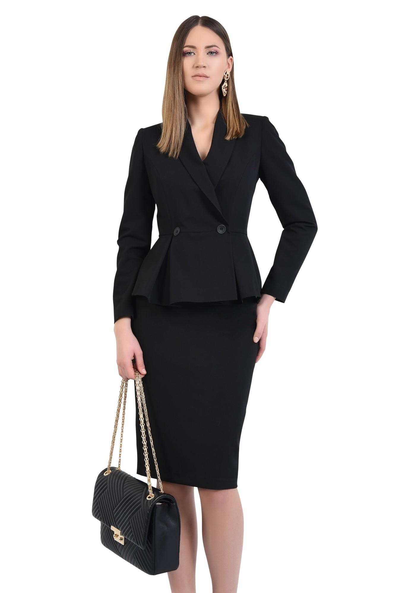 3 - 360 - blazer elegant, cu volan si pliuri, cu nasturi, revere rotunjite
