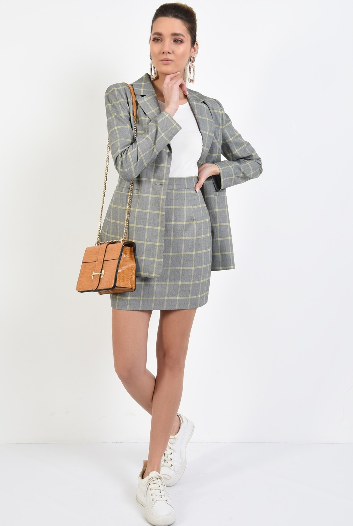 3 - fusta casual, scurta, cu imprimeu, carouri, cu talie inalta