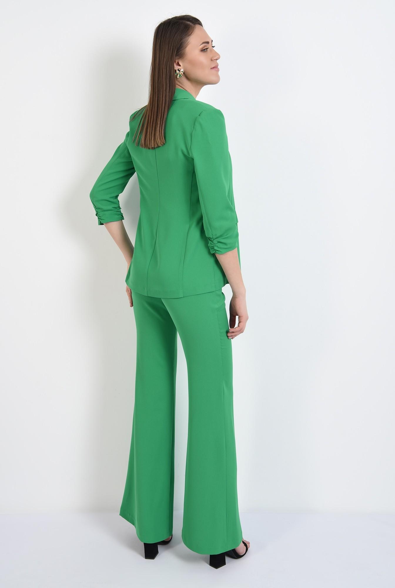 1 -  sacou verde, casual, subtire, maneci fronsate, fara sistem de inchidere
