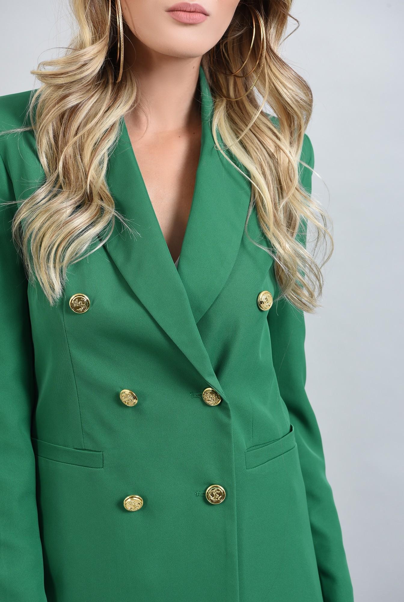 2 - scou cu nasturi aurii, verde, cu maneca unga