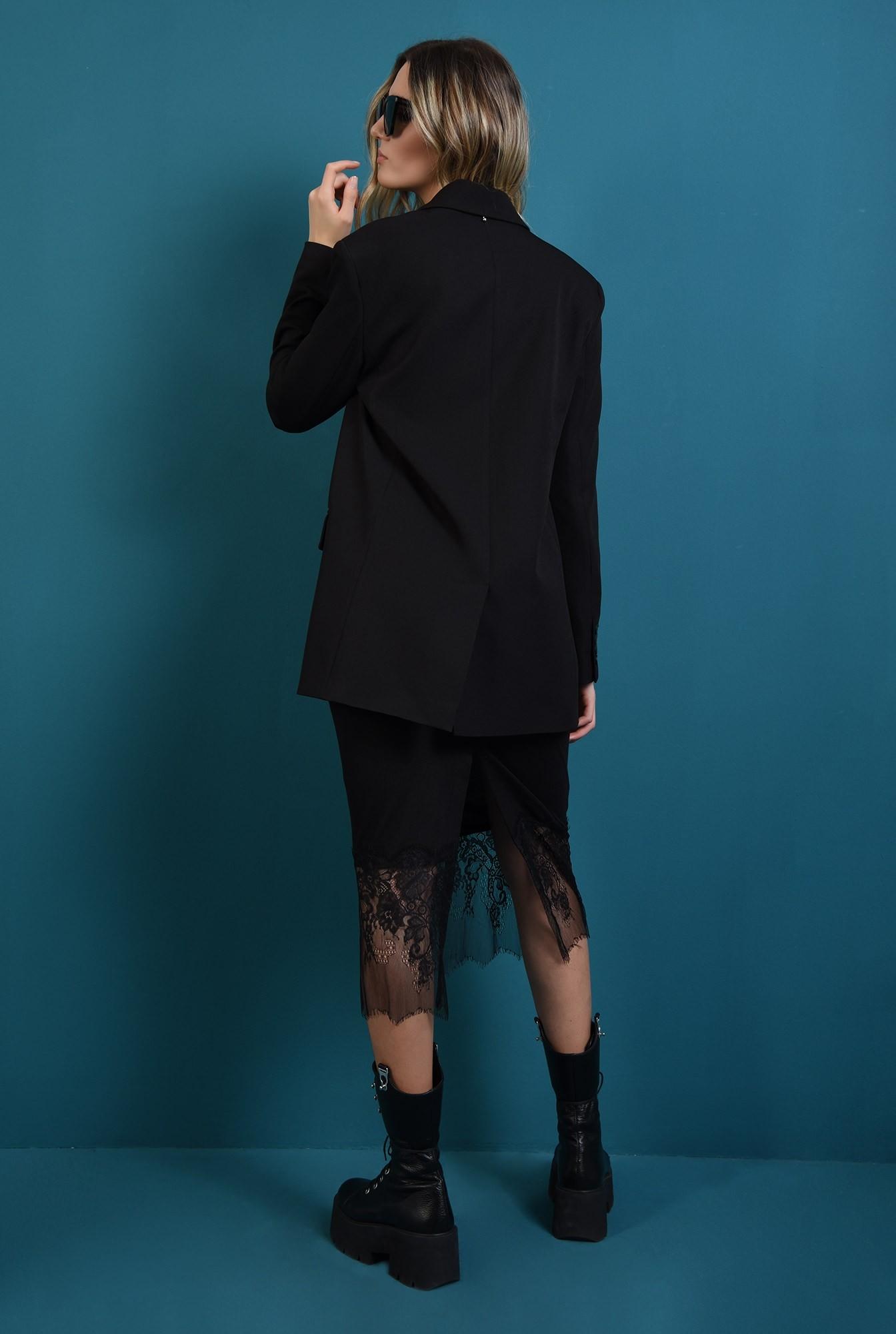 1 - 360 - sacou negru, oversize, cu un nasture