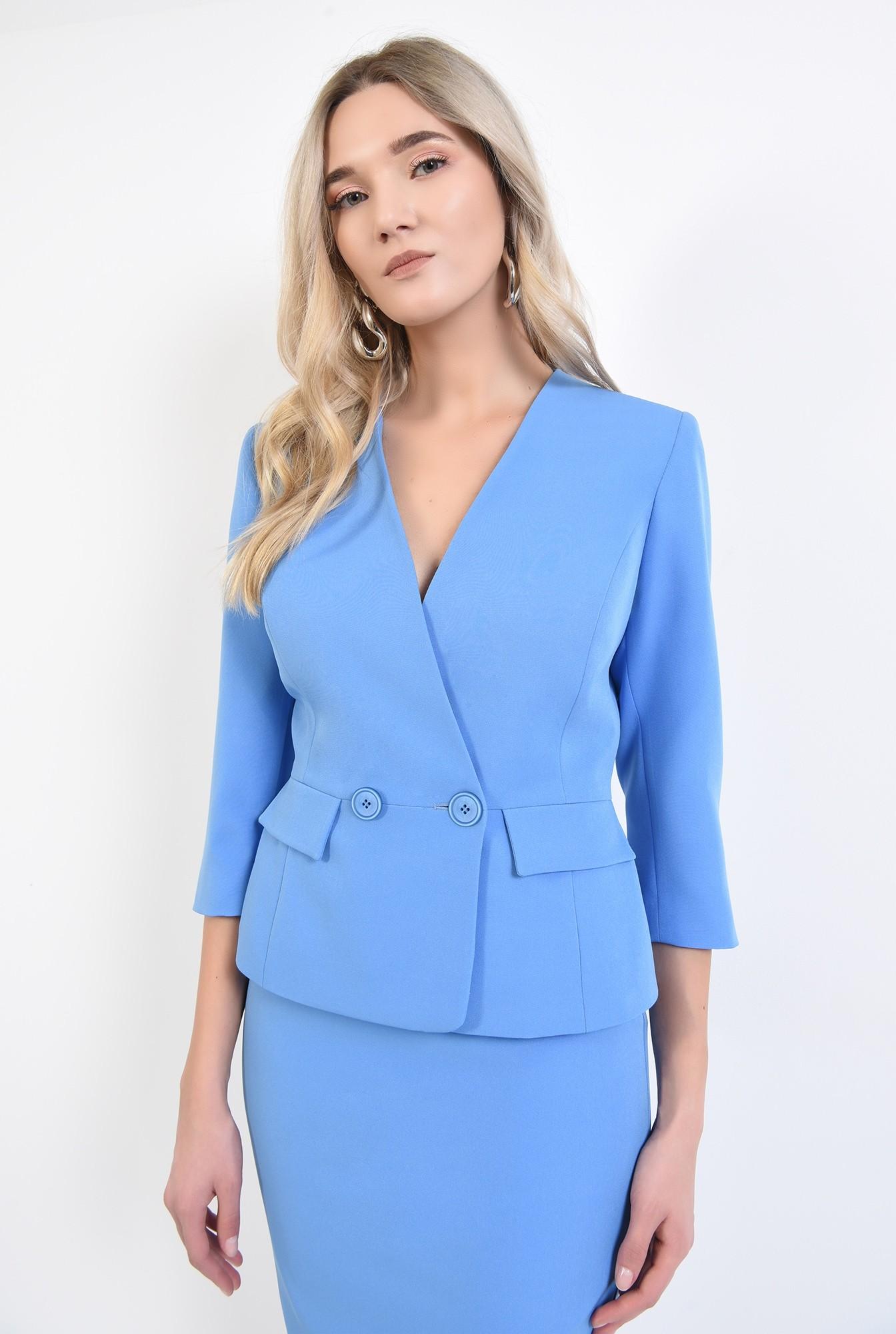 2 - 360 - sacou bleu, office, costum, buzunare cu clapa, anchior petrecut