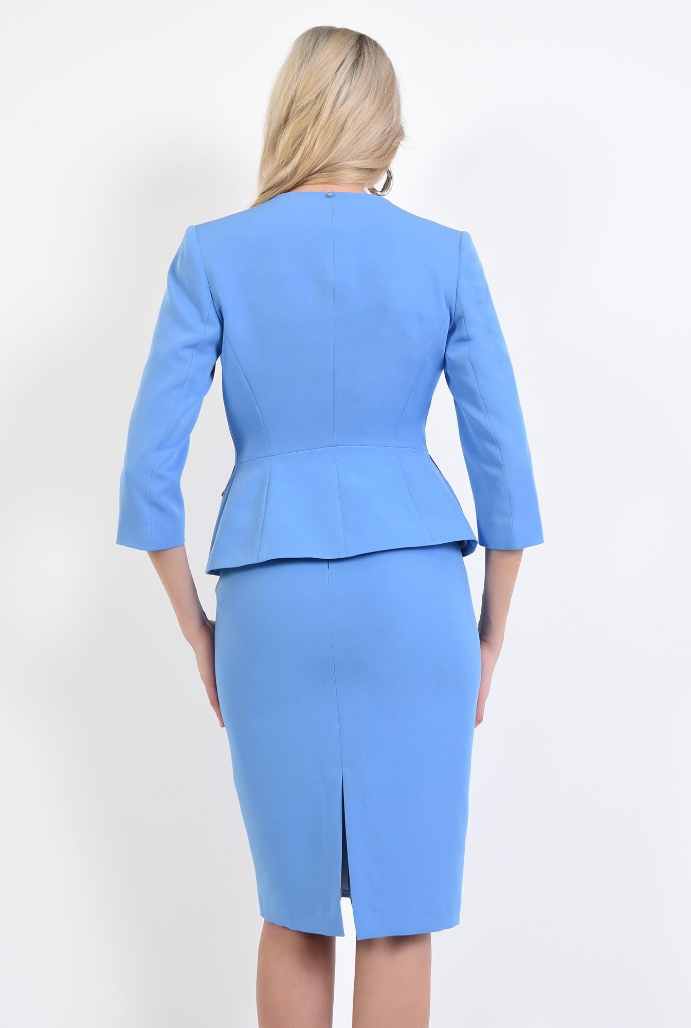 1 - 360 - sacou bleu, office, costum, buzunare cu clapa, anchior petrecut