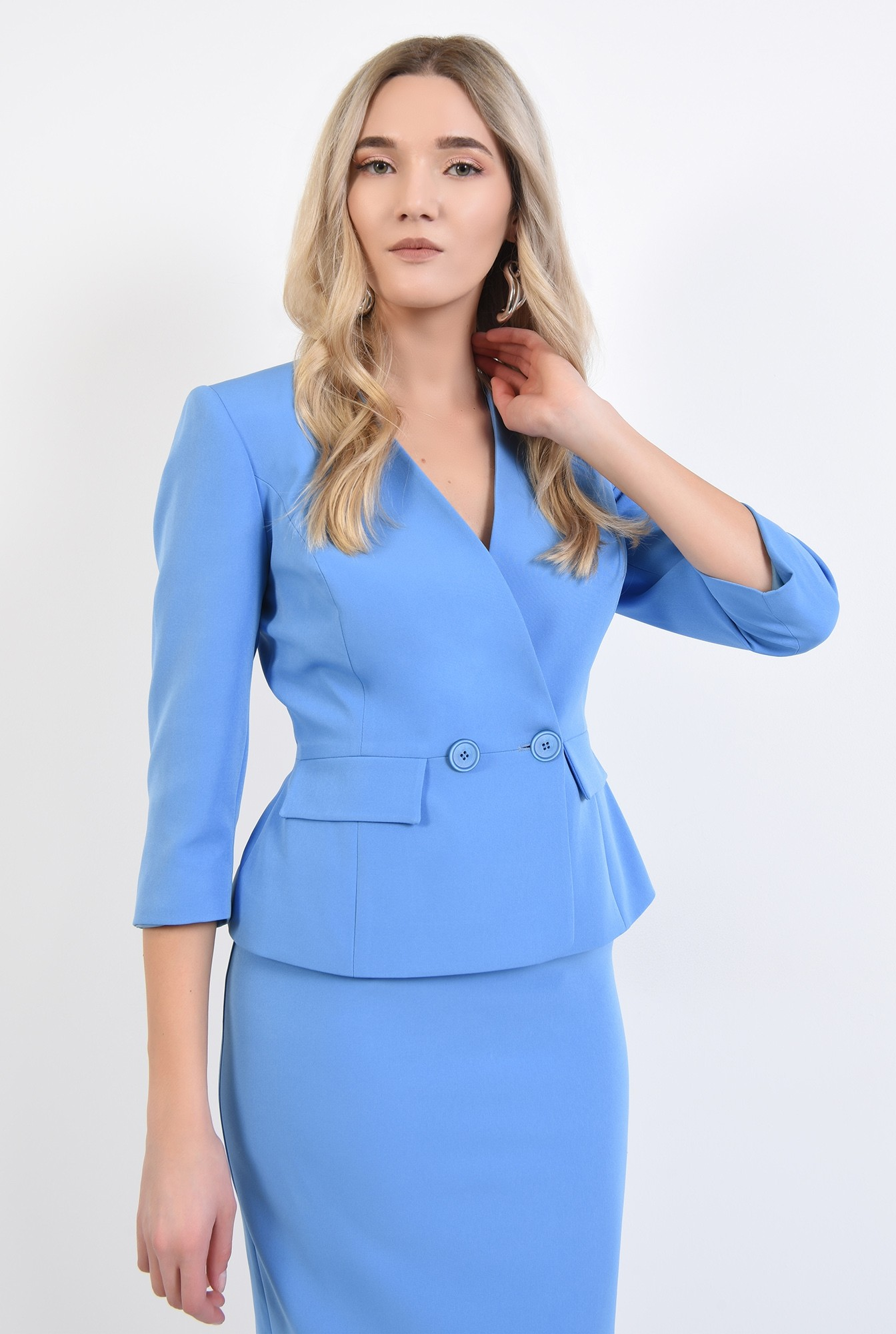 0 - 360 - sacou bleu, office, costum, buzunare cu clapa, anchior petrecut