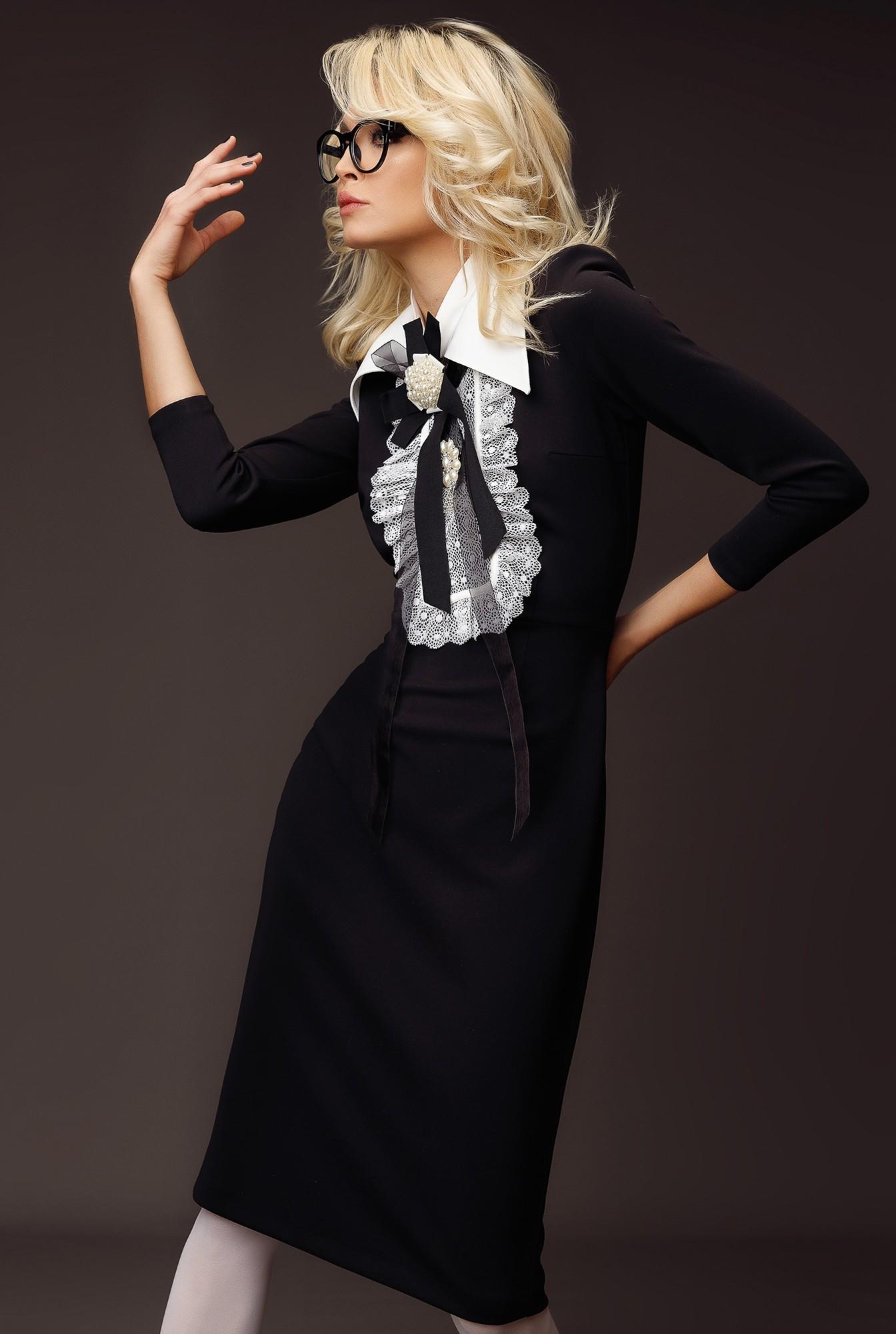 1 - rochie neagra, office, cu decolteu rotund