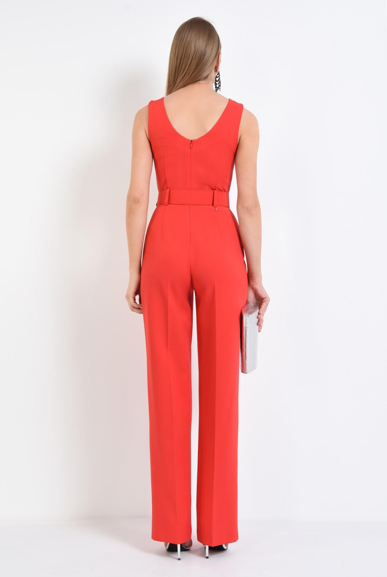1 - salopeta eleganta rosie, curea lata, pantaloni la dunga