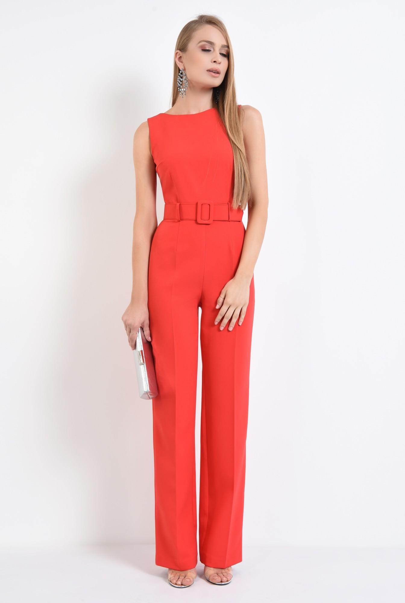 3 - salopeta eleganta rosie, curea lata, pantaloni la dunga