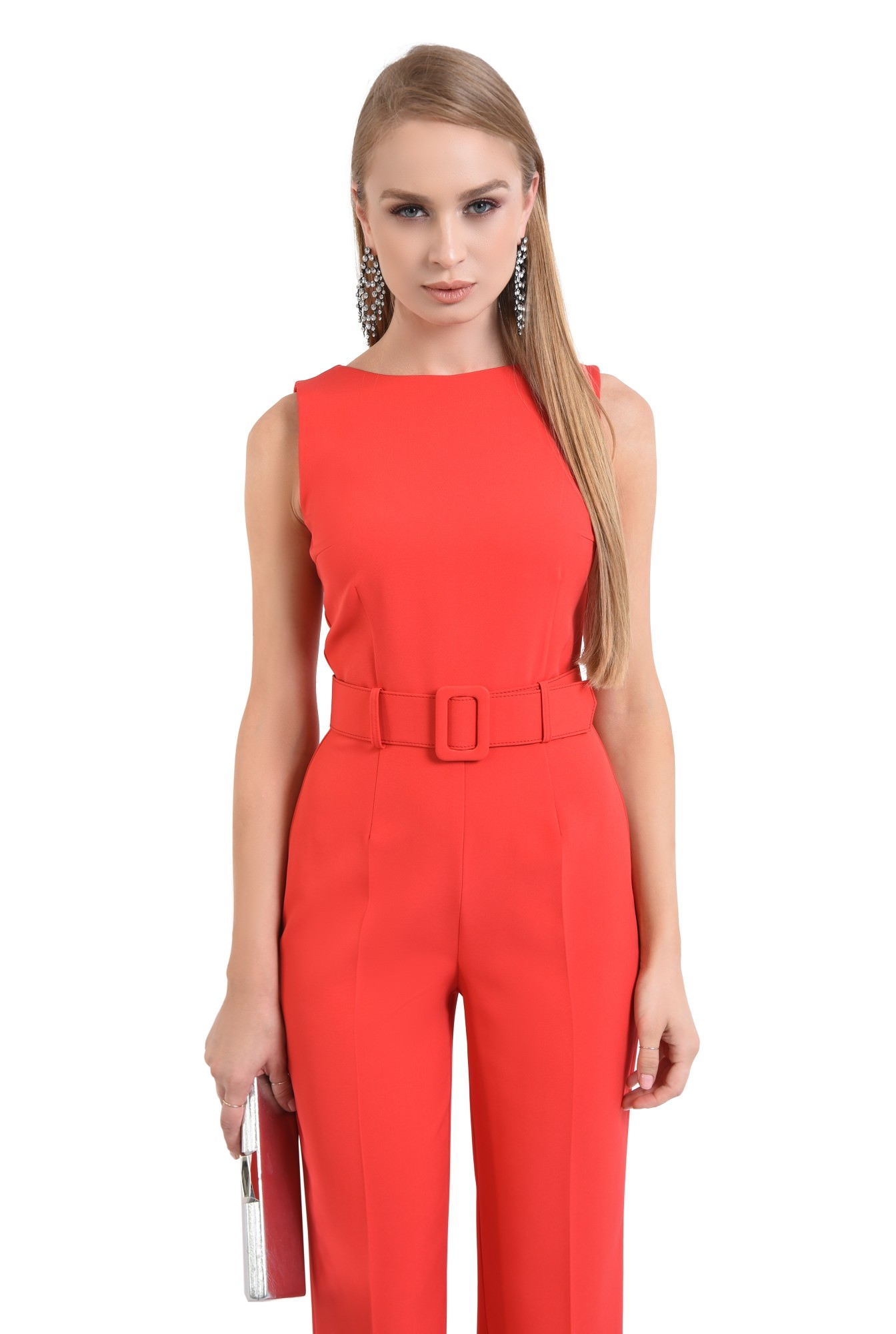 0 - salopeta eleganta rosie, curea lata, pantaloni la dunga