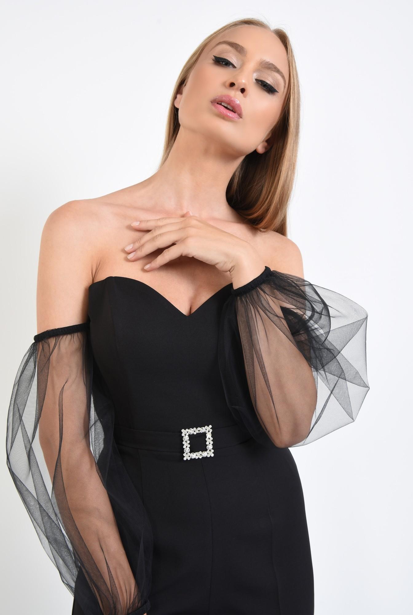 2 - salopeta eleganta, maneci tul, corset, centura decorativa