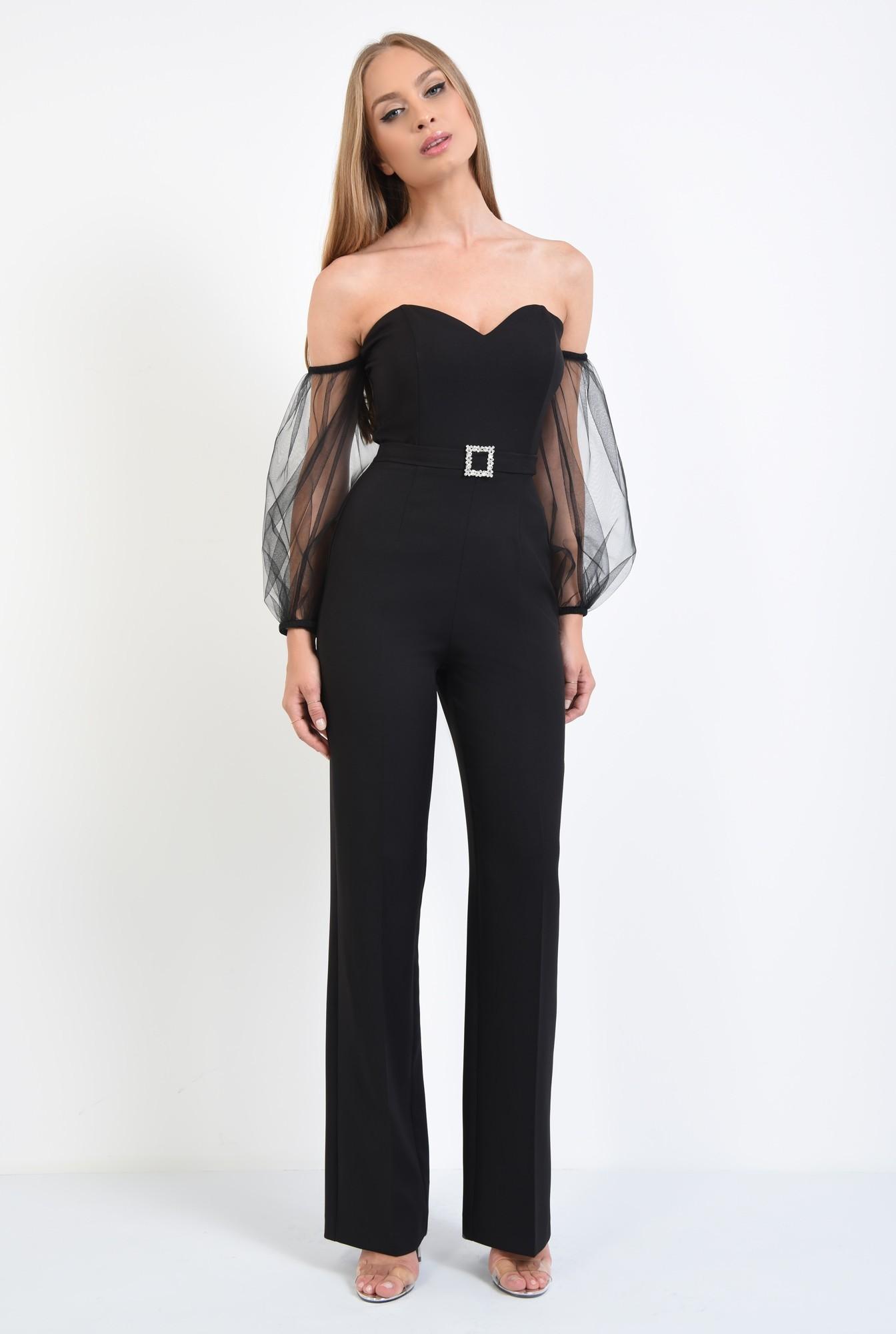 3 - salopeta eleganta, maneci tul, corset, centura decorativa