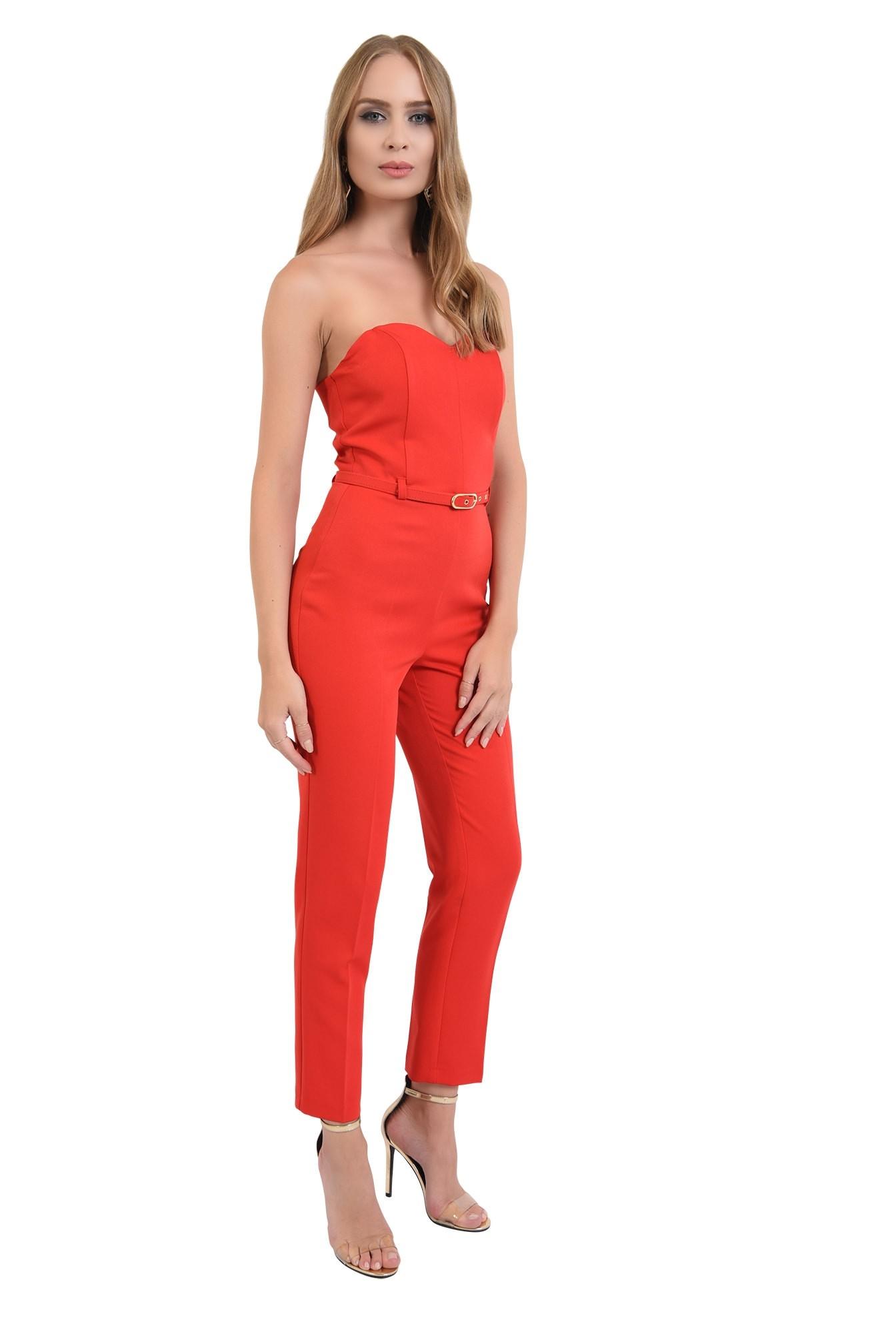 0 -  salopeta lunga, eleganta, rosie, cu corset, curea